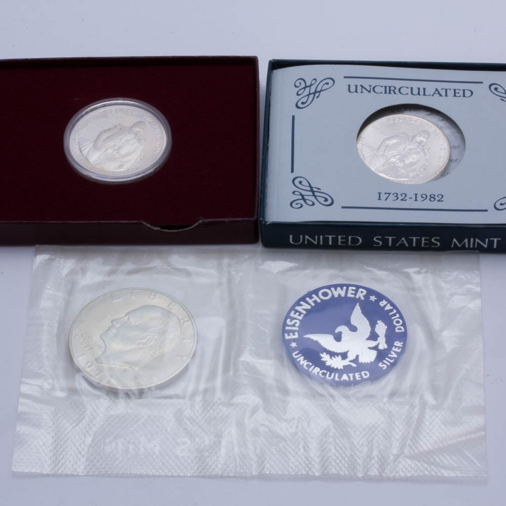 Silver Eisenhower Dollar and Two Commemorative Silver Half Dollars