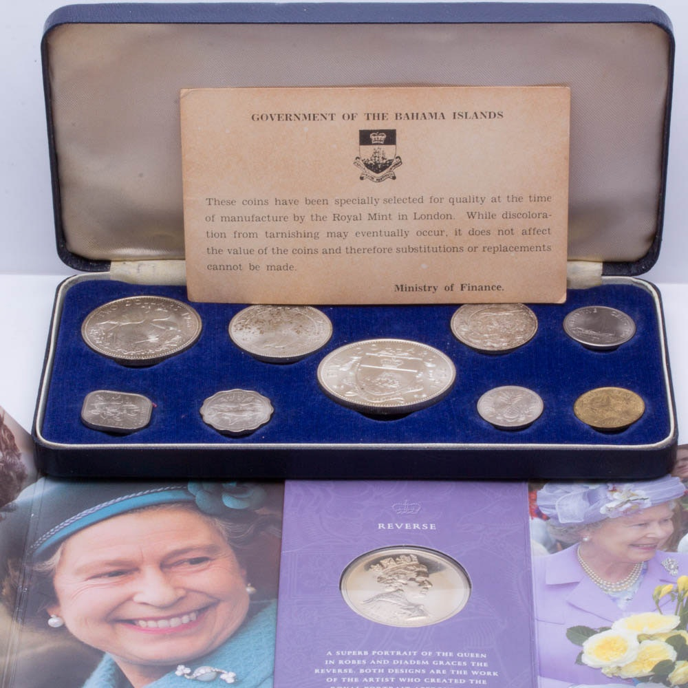 1966 Bahamas Type Coin Set and a 2002 Golden Jubilee Silver Commemorative Crown