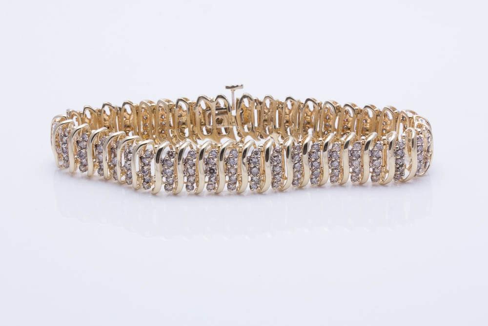 14K Yellow Gold 3.50 CTW Diamond Bracelet