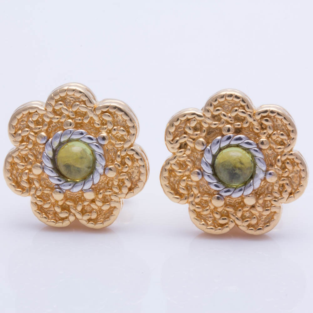 18K Yellow Gold Peridot Earrings with 14K Yellow Gold Backs