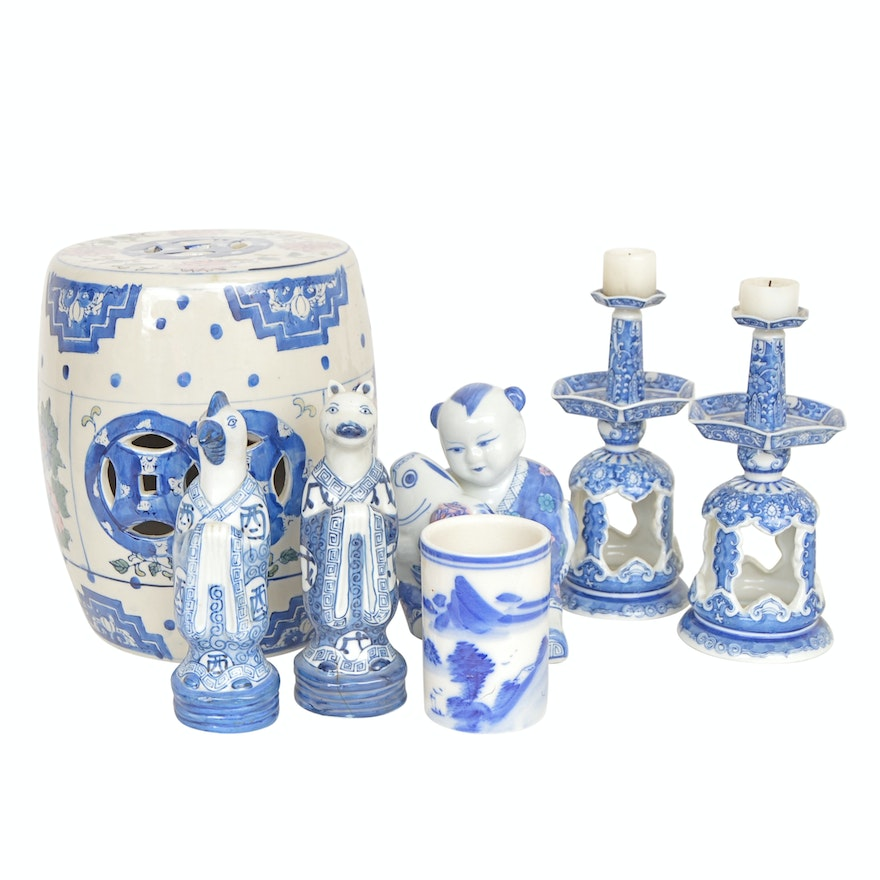 Chinese Small Garden Stool And Collectibles