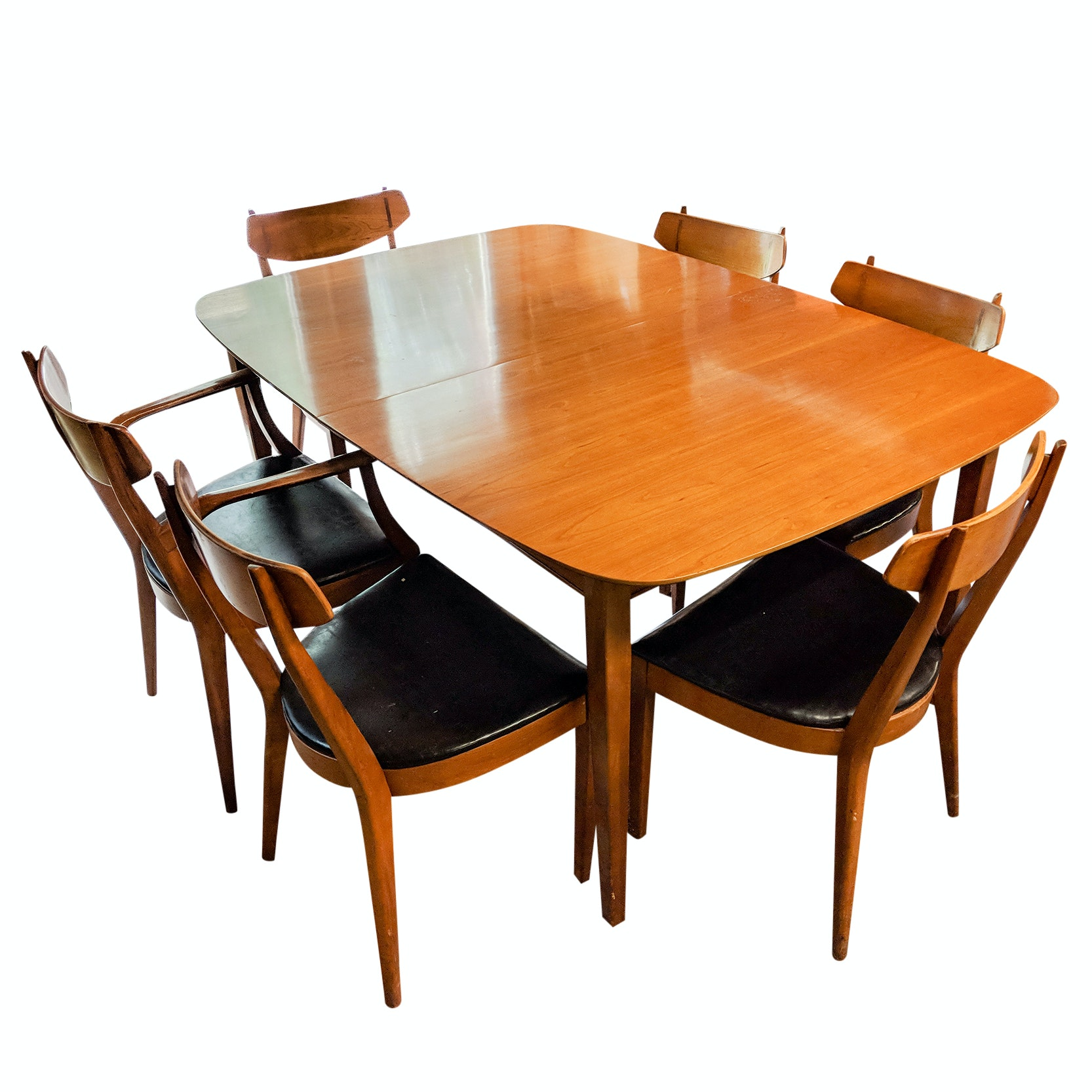 Mid-Century Modern Drexel Dining Table with Six Chairs