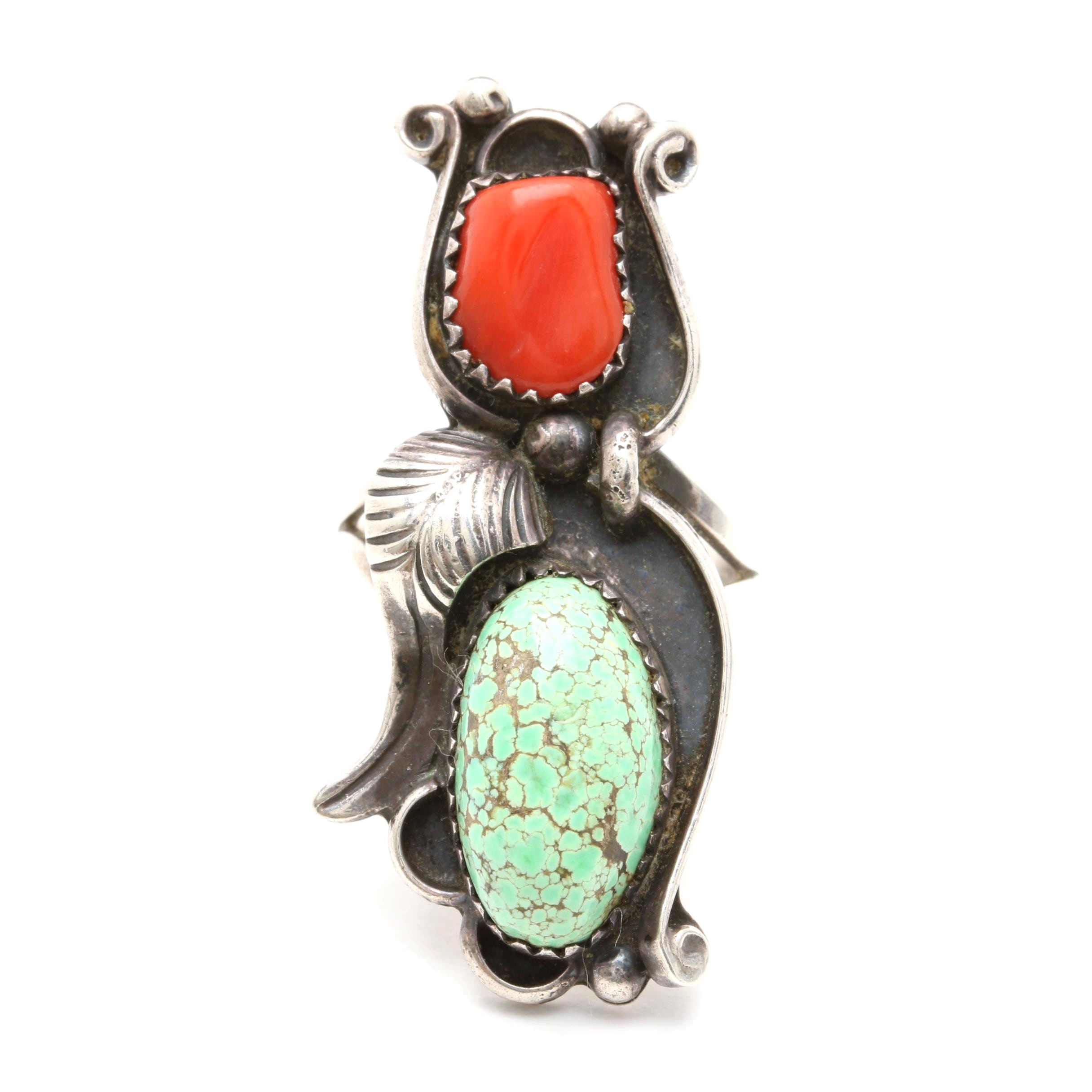Southwestern Style Sterling Silver Coral and Turquoise Ring