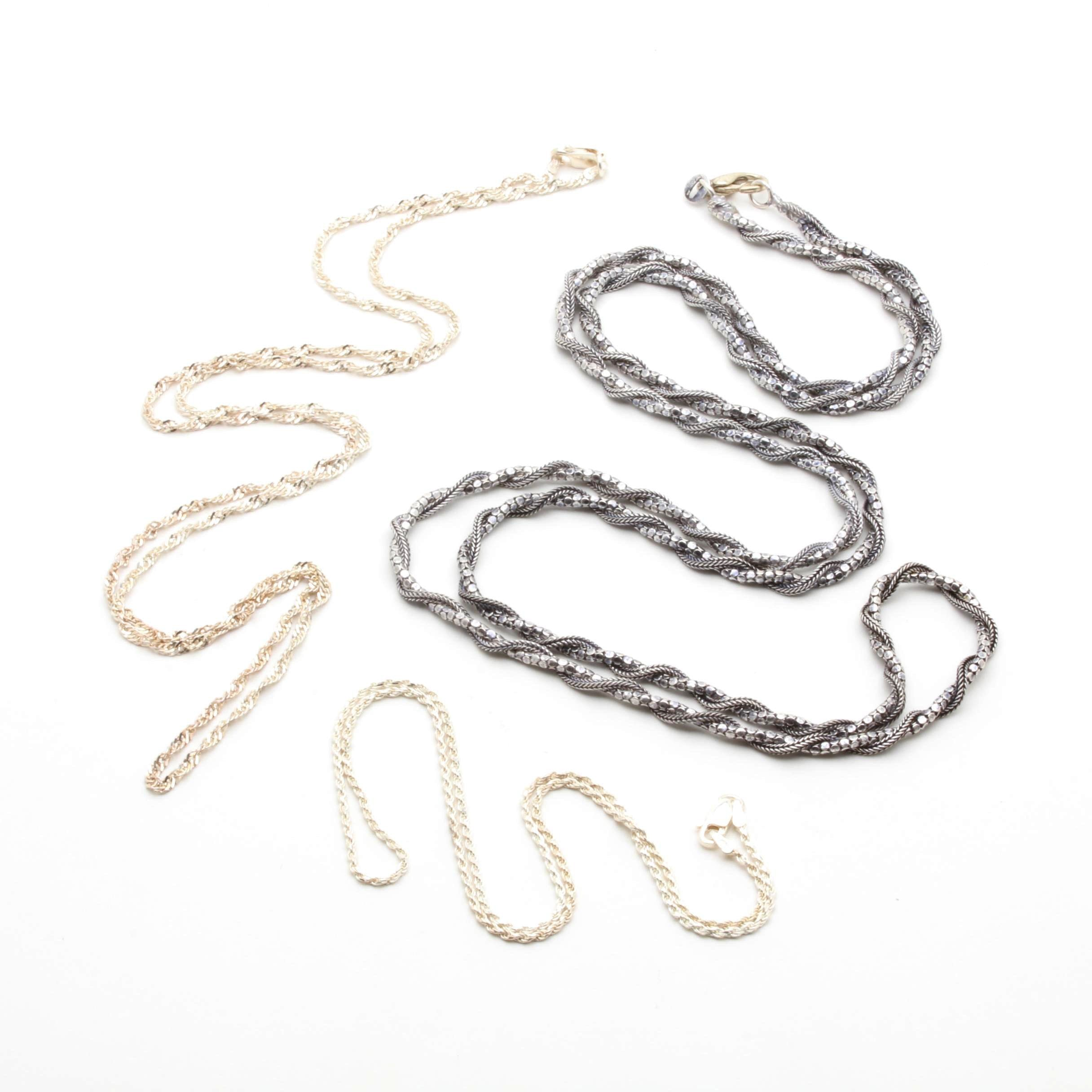 Sterling Silver Chain Necklace Assortment