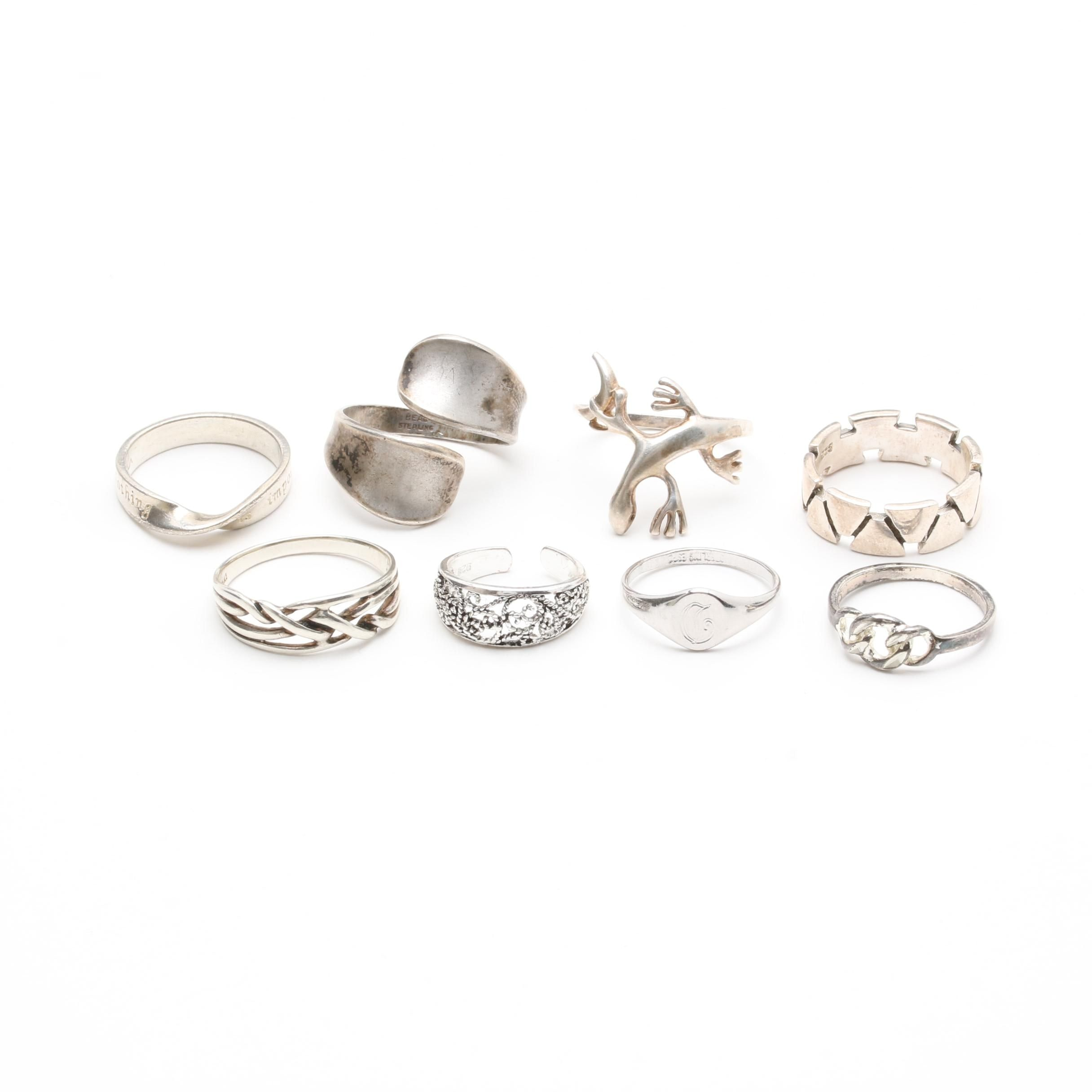 Sterling Silver Ring Selection Including Toe Rings