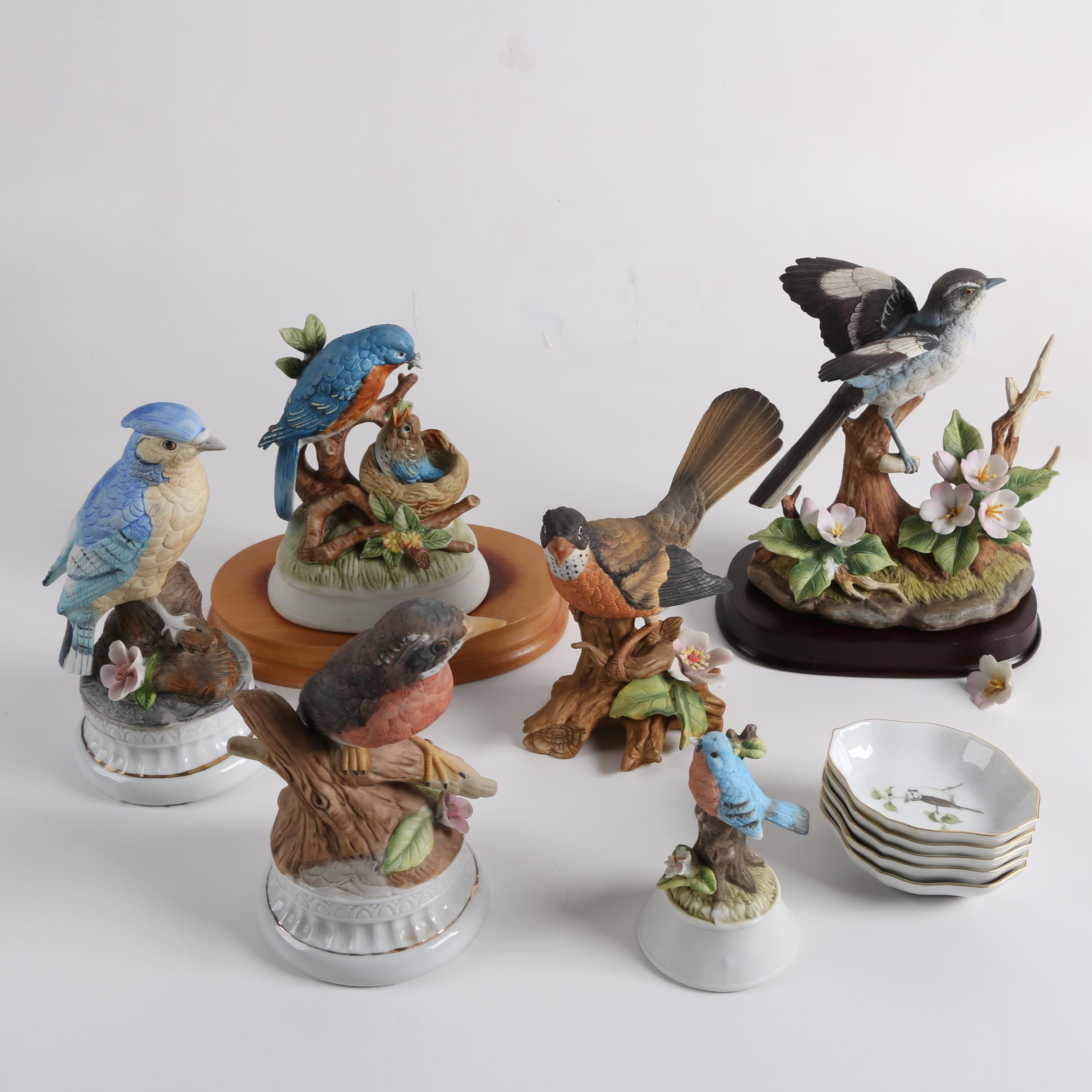 Bird Themed Ceramic Figurines and Trays Including Sadek, Gorham and Kaiser