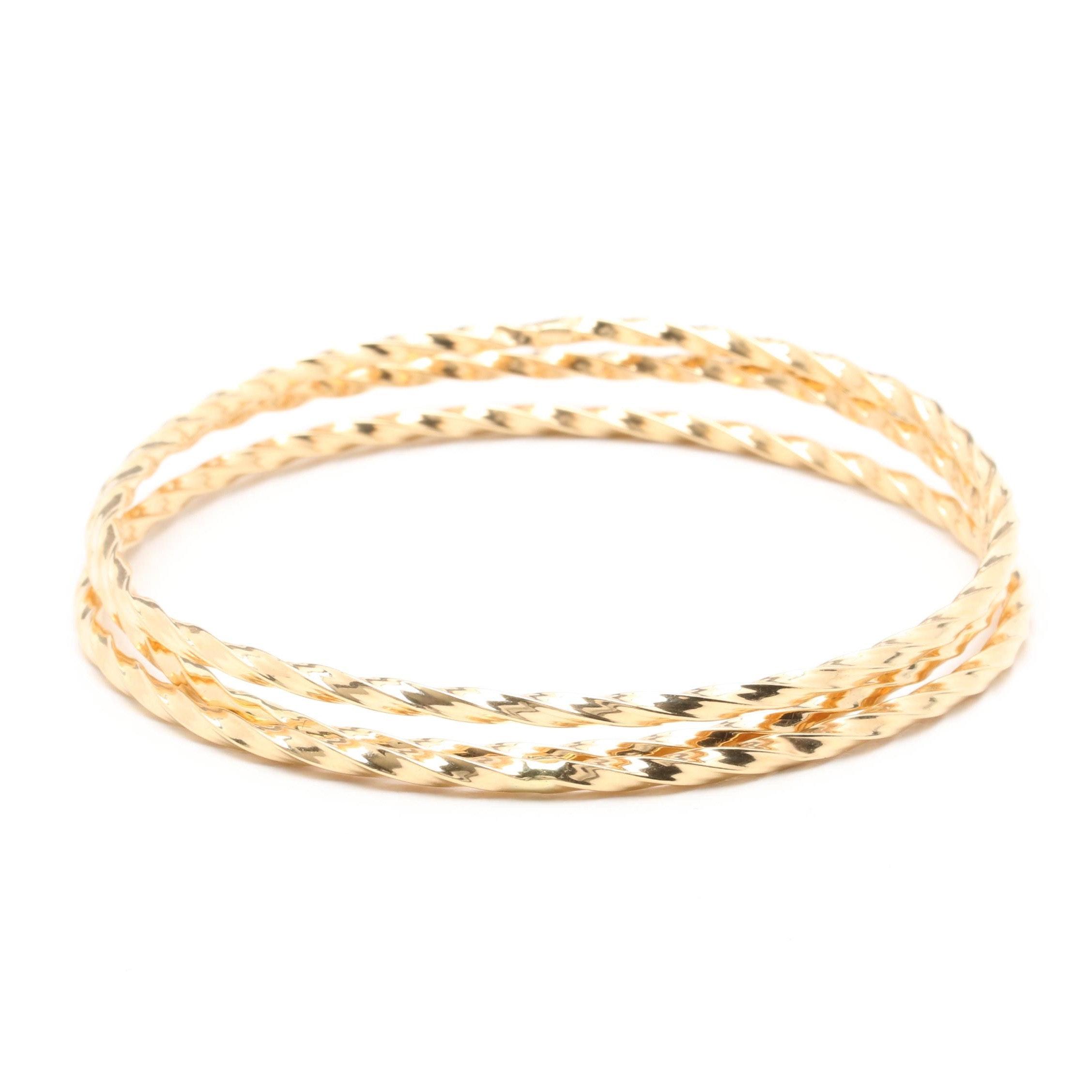 14K Yellow Gold Bangle Bracelet Selection