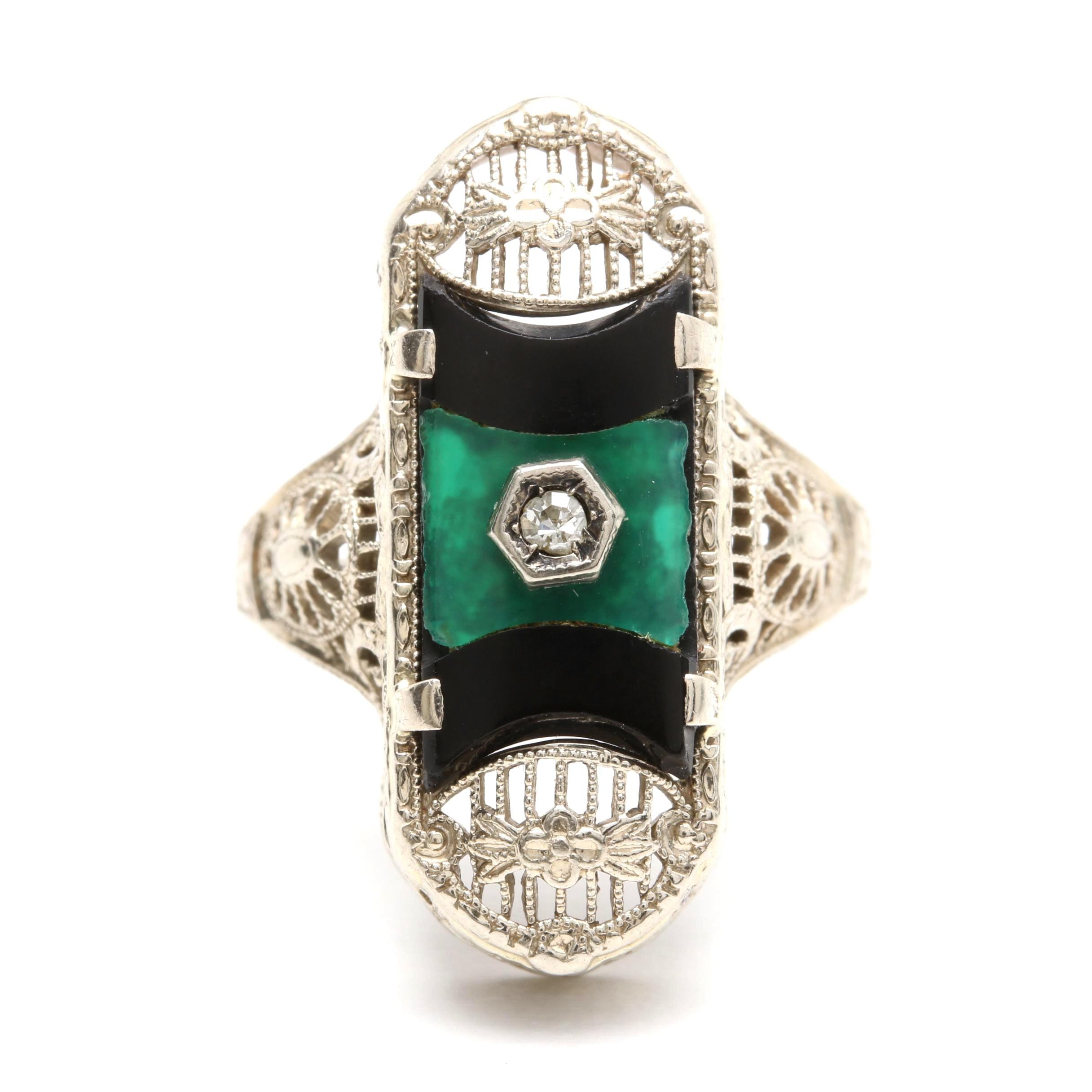 14K White Gold Diamond, Chalcedony, and Black Onyx Ring