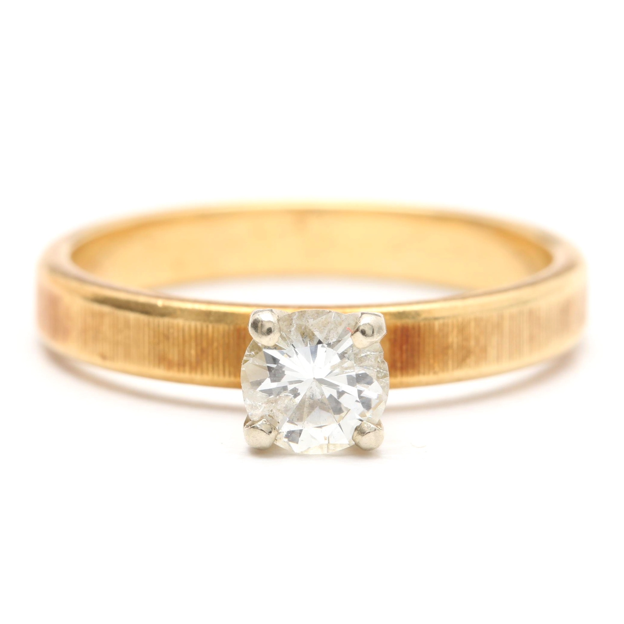 18K Yellow Gold Solitaire Diamond Ring