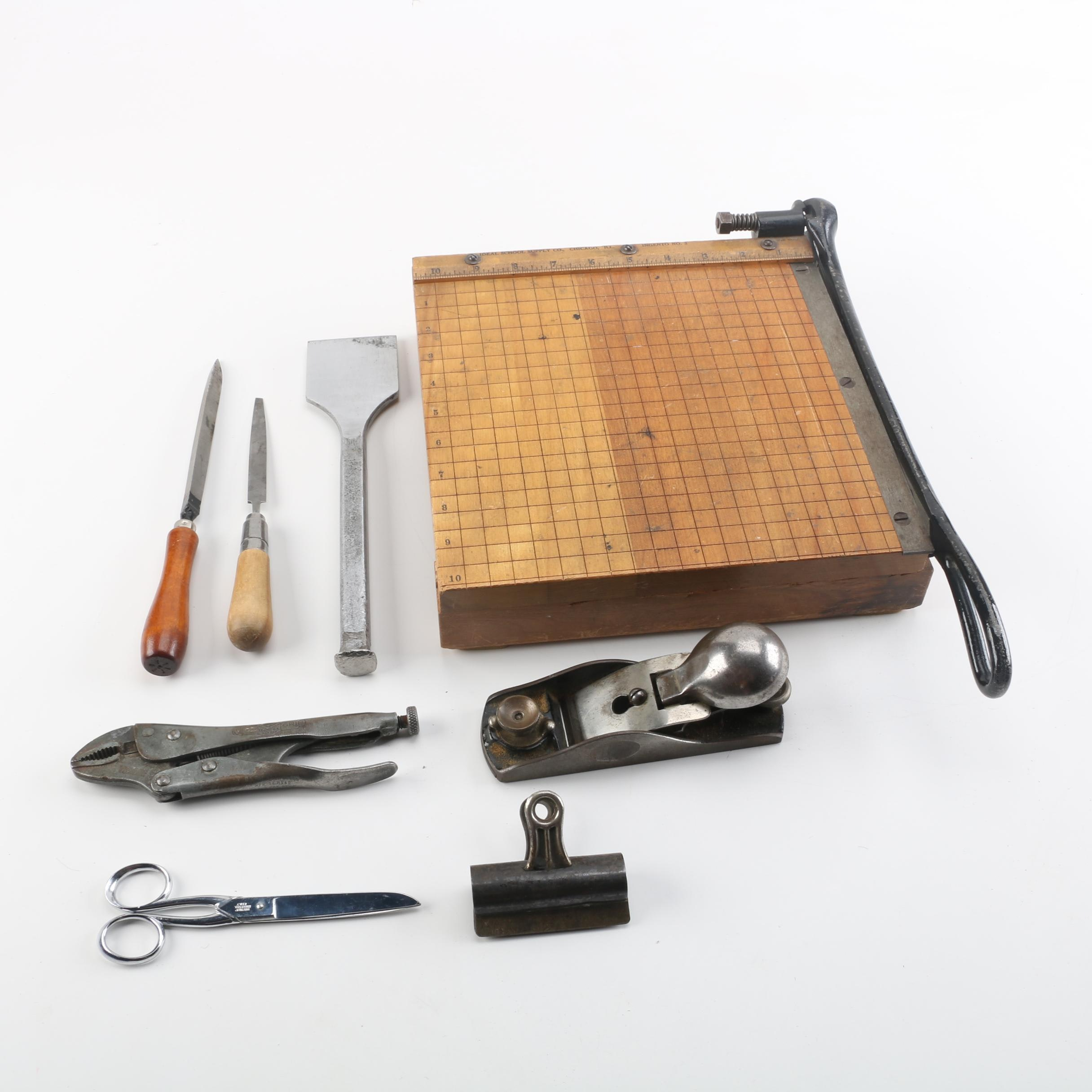 Vintage Ingento No. 3 Paper Cutter and Other Tools