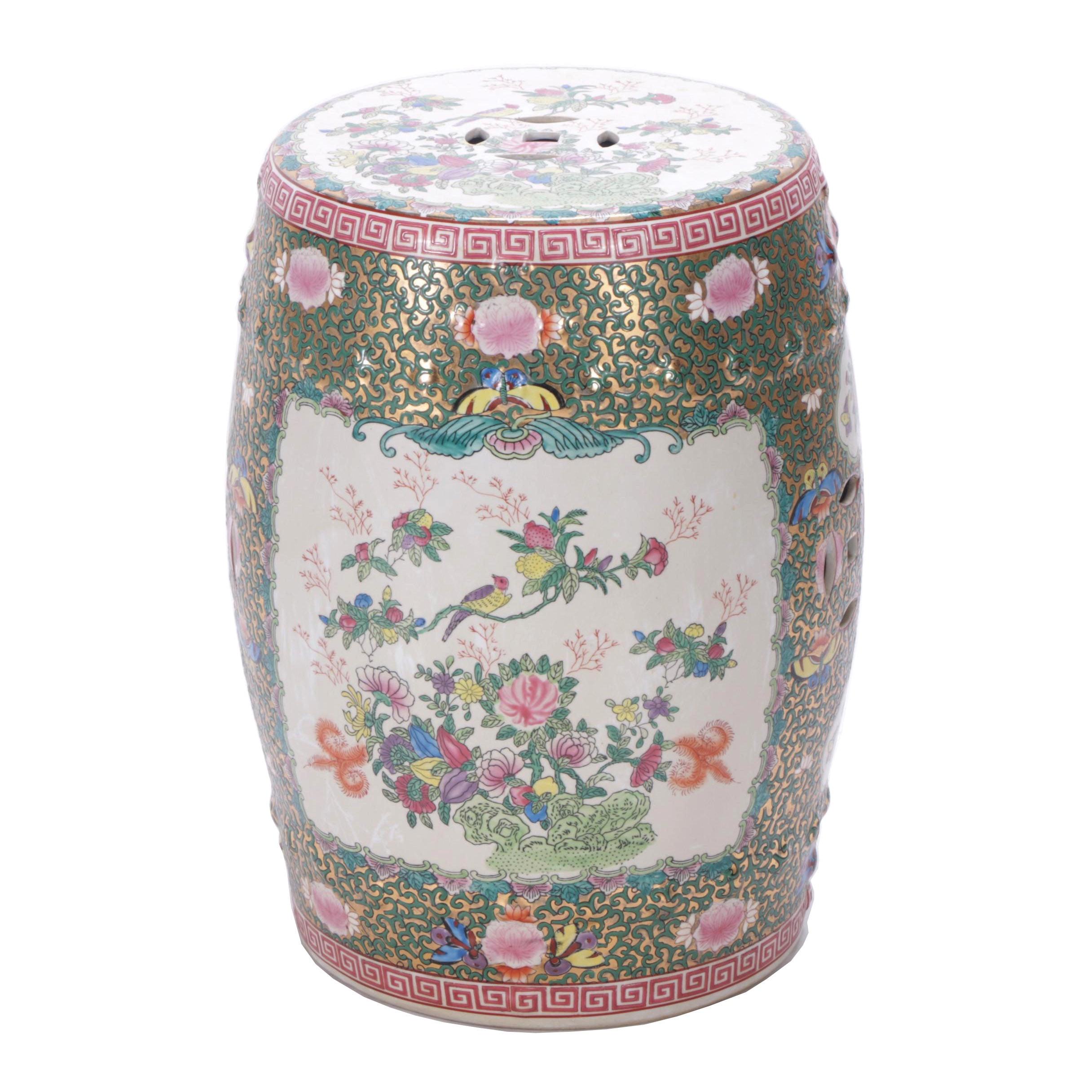 Chinese Floral Ceramic Garden Stool