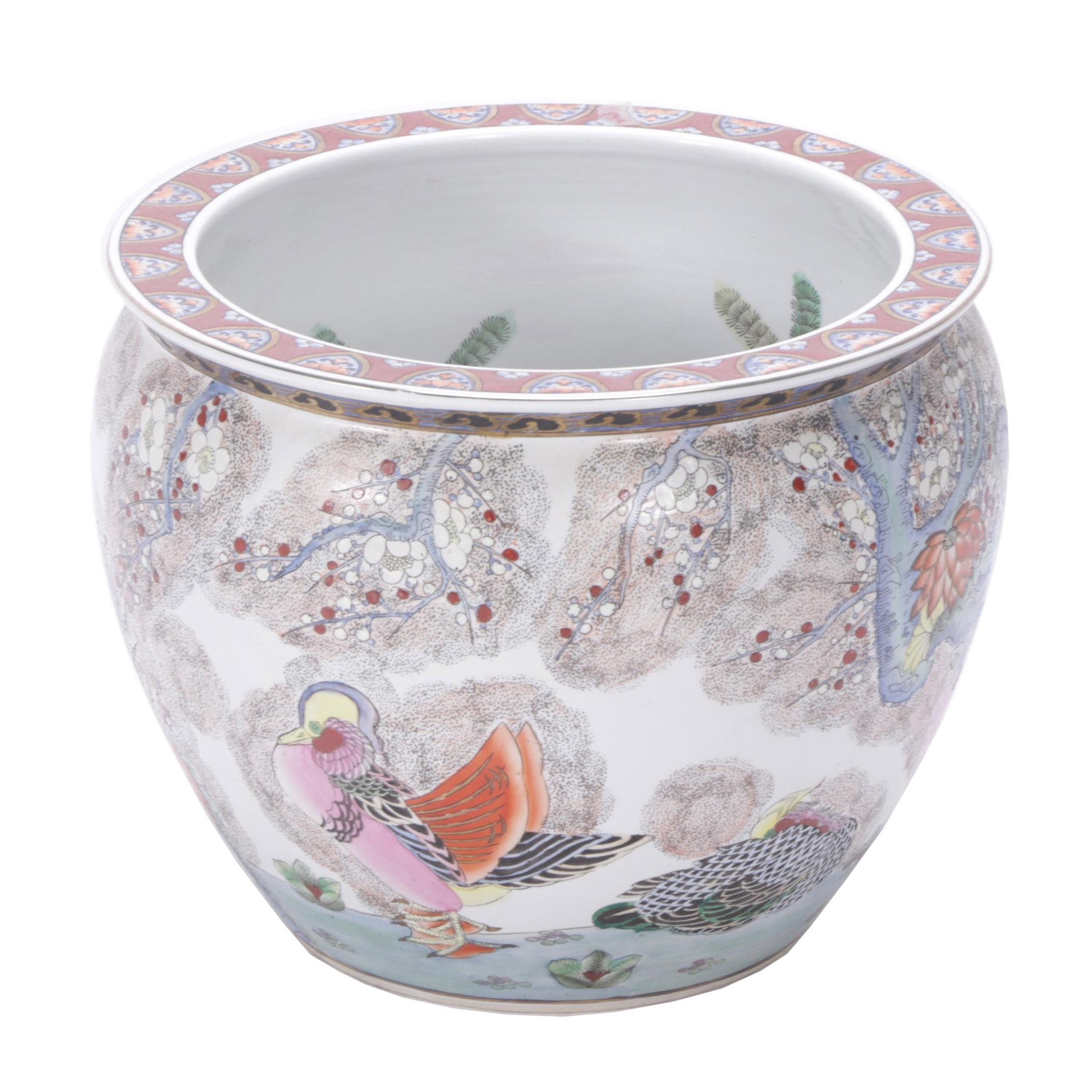 Contemporary Chinese Ceramic Planter with Bird, Floral and Fish Designs