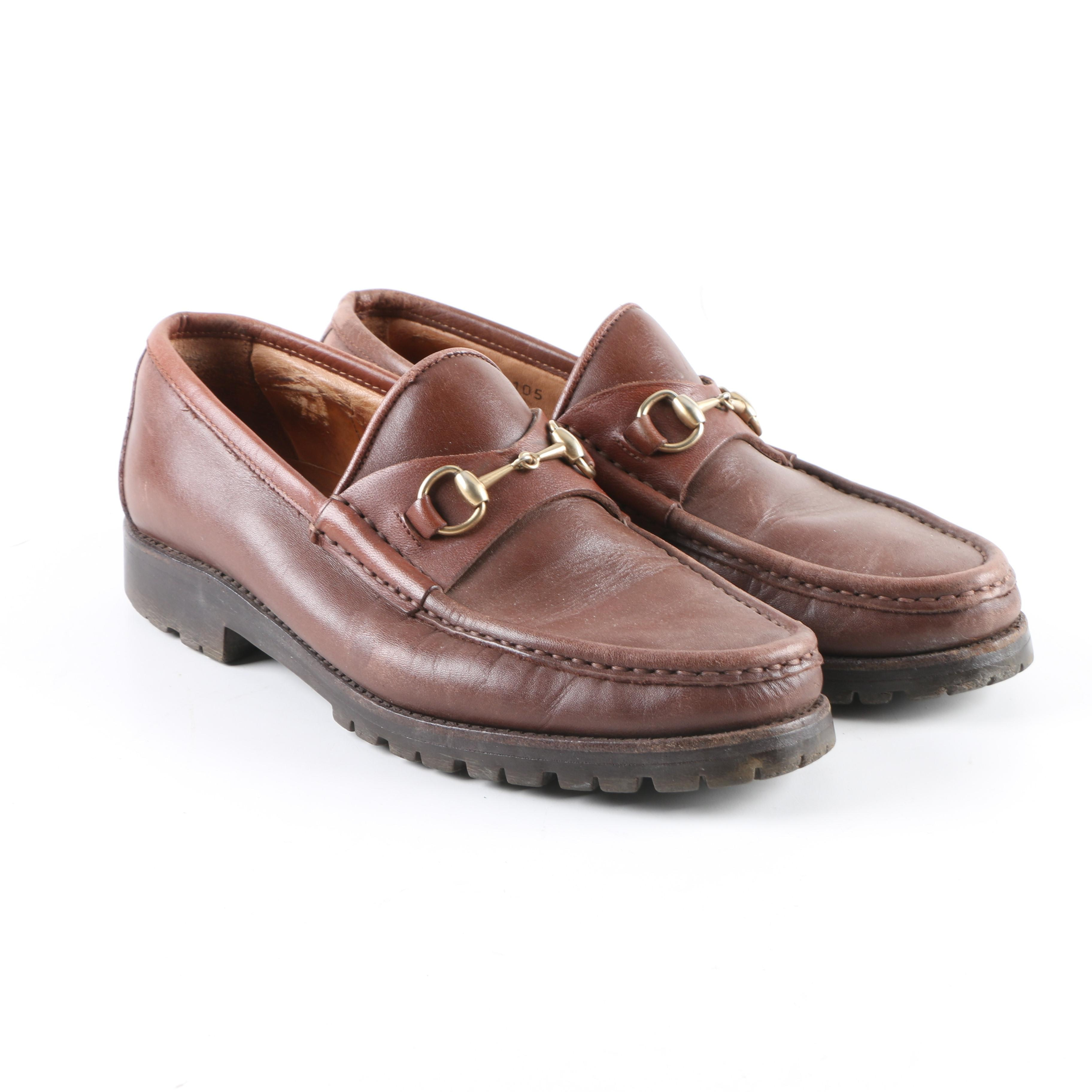 Women's Gucci Brown Leather Horsebit Loafers