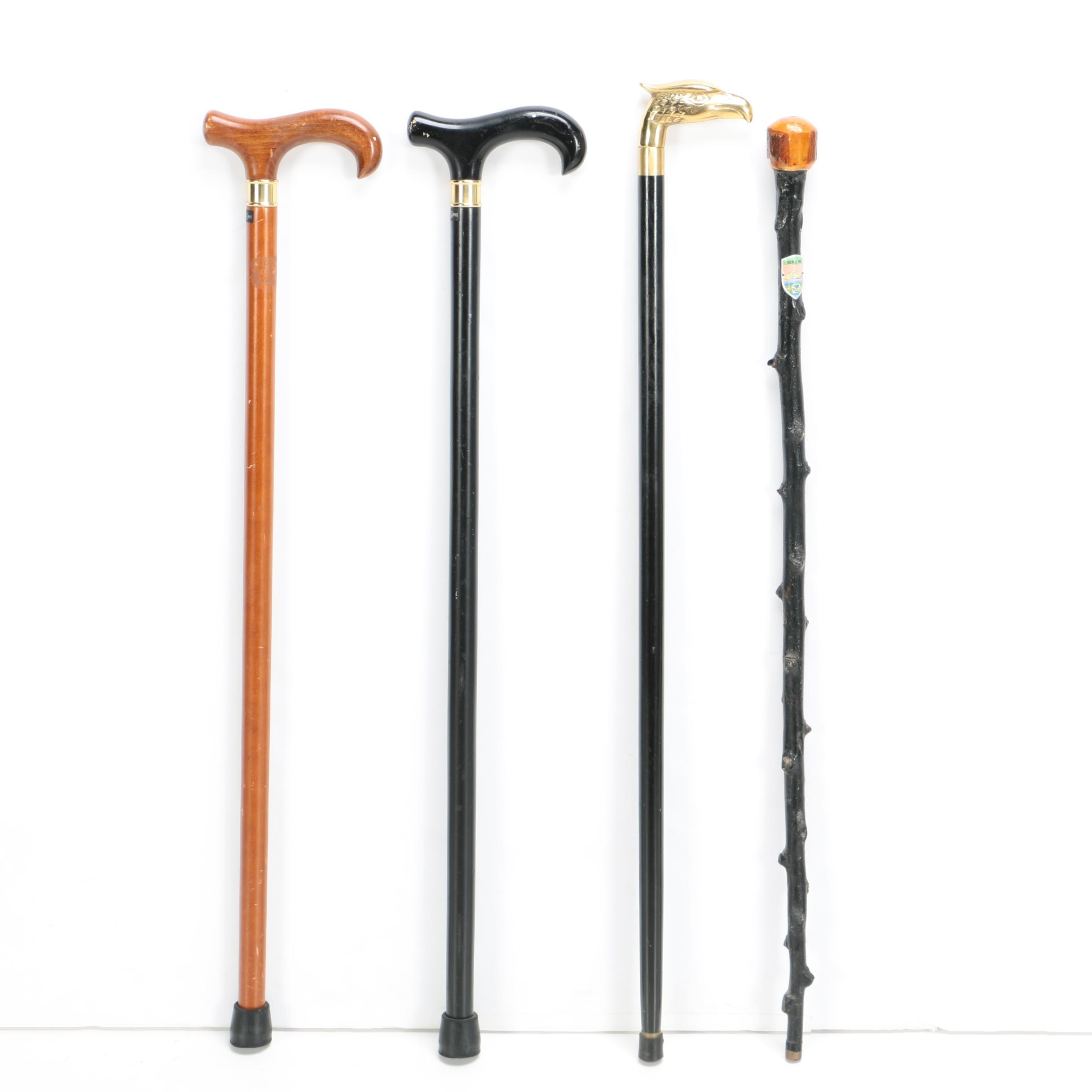 Vintage Wooden Canes with Walking Stick and Sword Cane