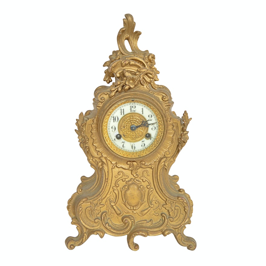 Vintage French Rococo Style Waterbury Mantle Clock