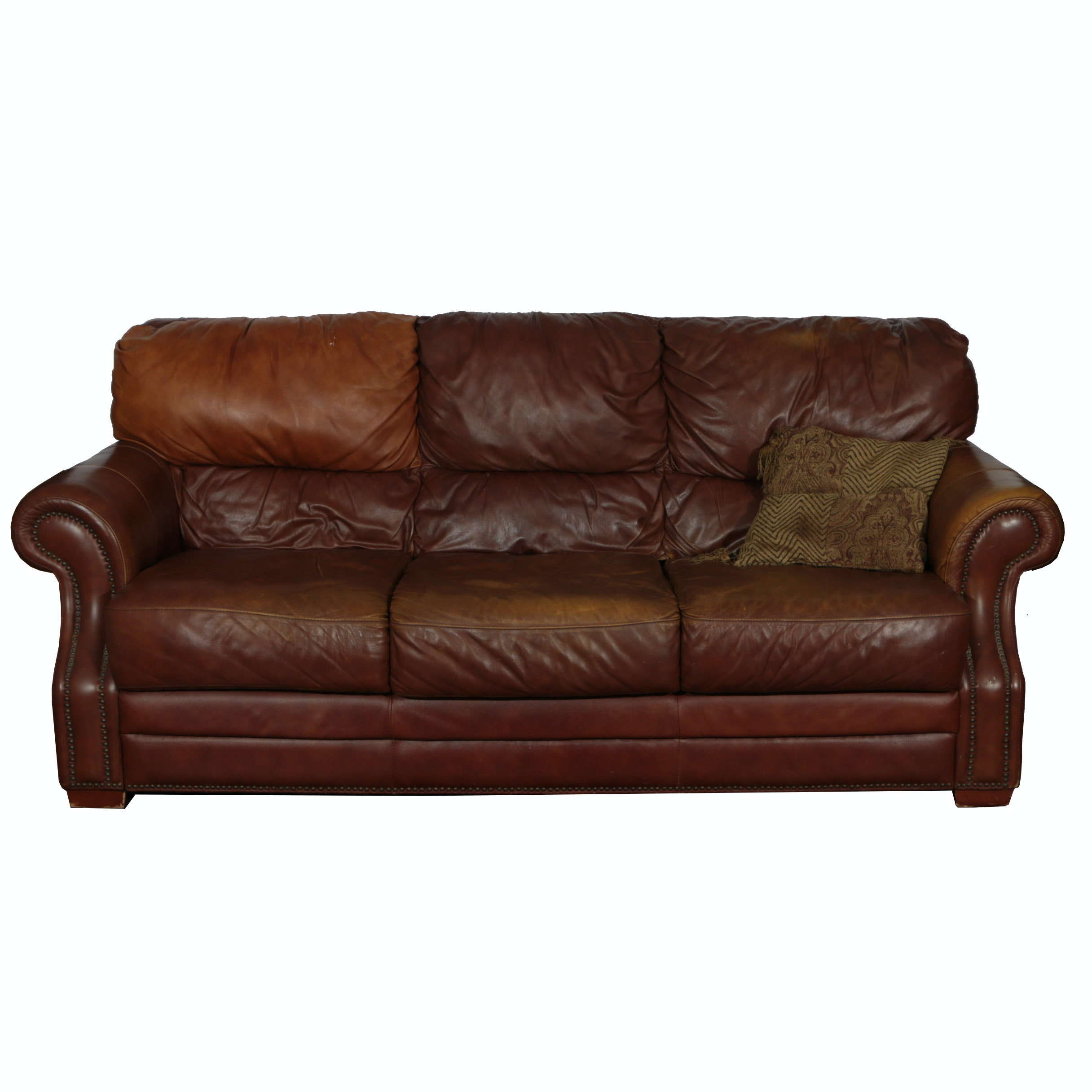Two Tone Brown Leather Couch By Leathermart Ebth