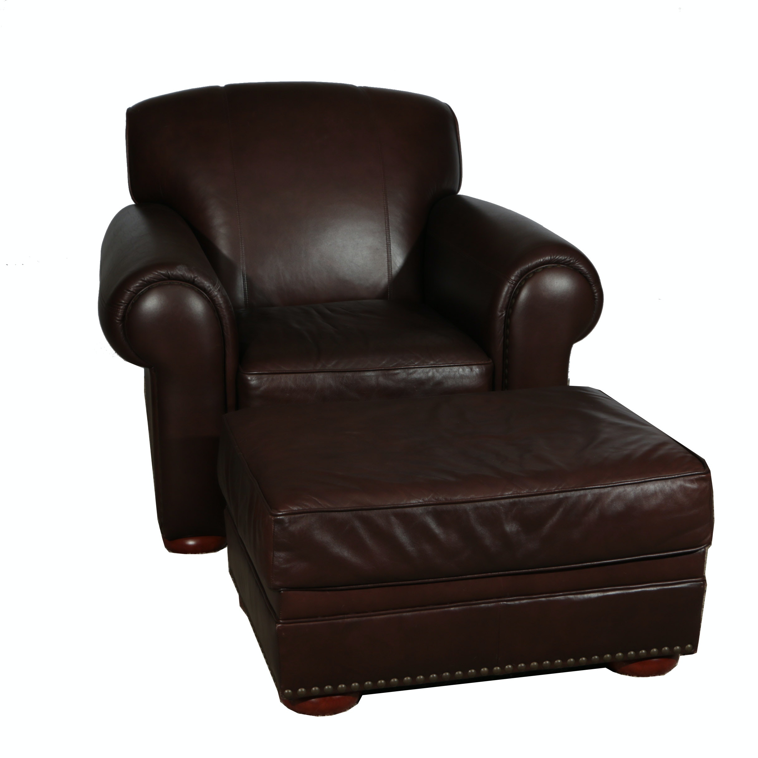 Dark Brown Leather Chair and Ottoman