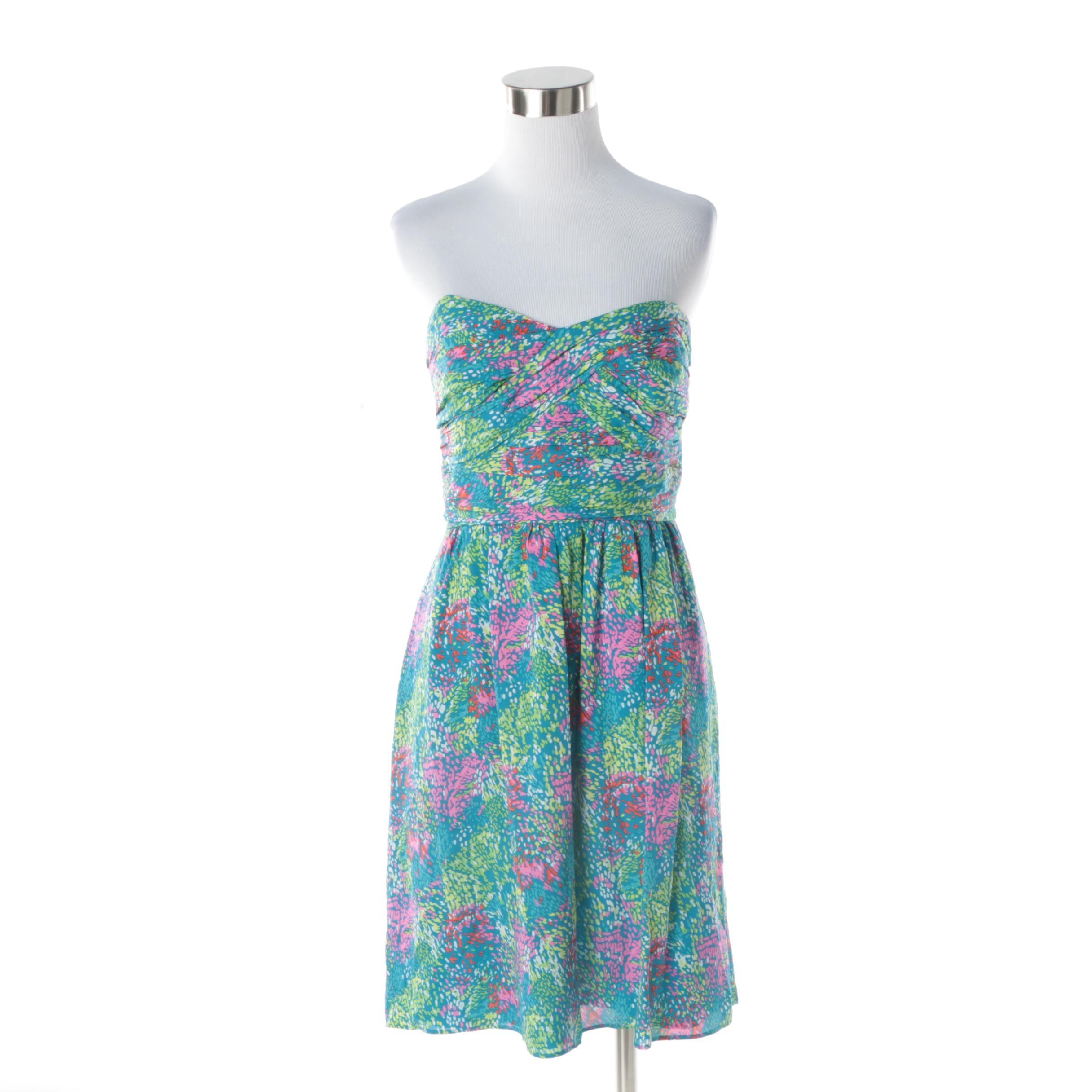 Shoshanna Strapless Multicolored Silk Cocktail Dress