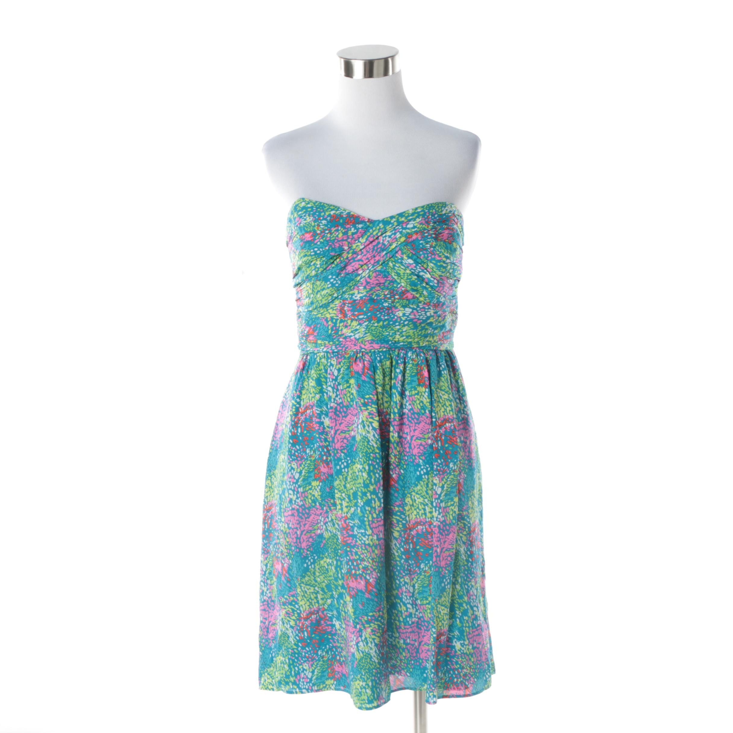 Shoshanna Strapless Multicolored Silk Cocktail Dress