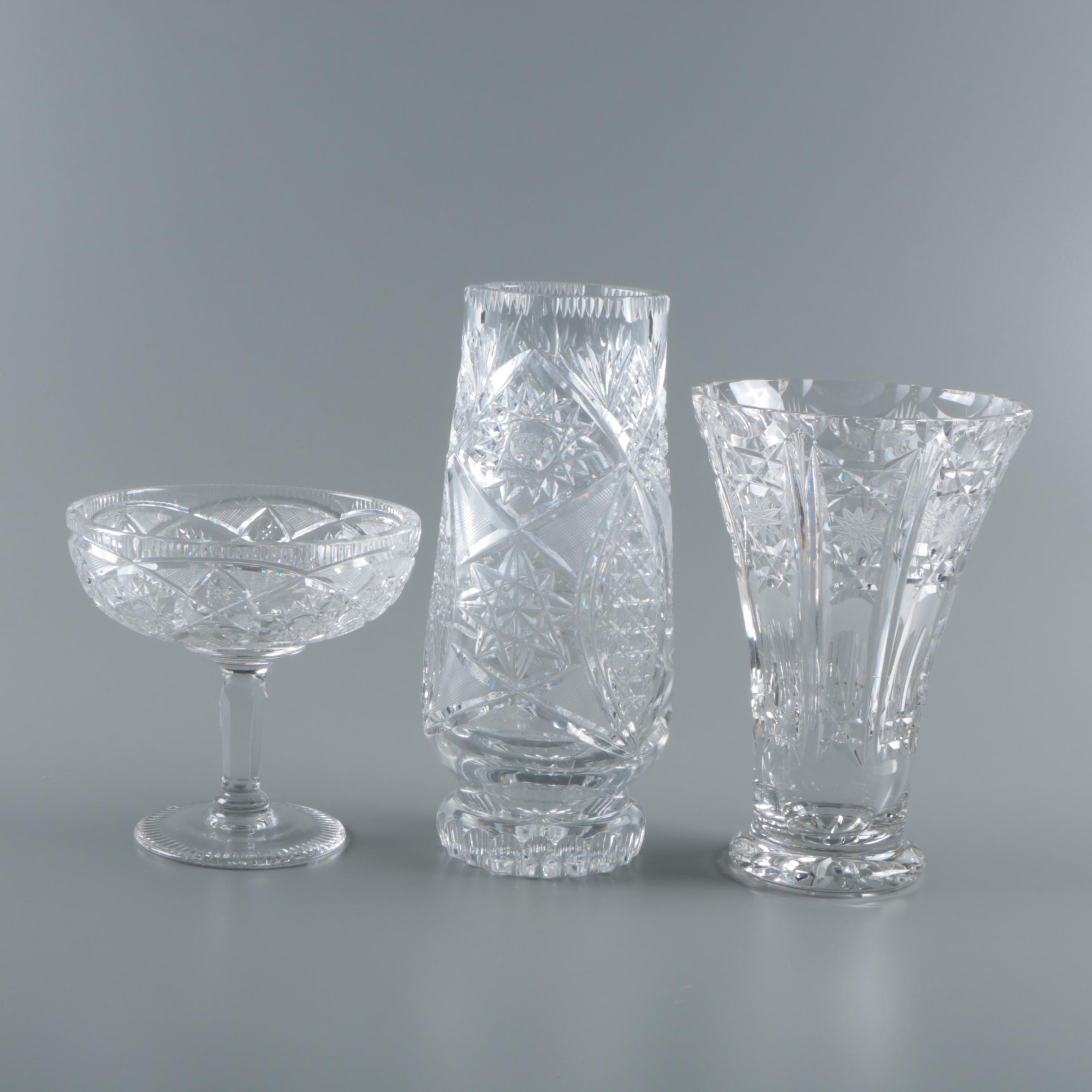 Cut Crystal Vases and Compote