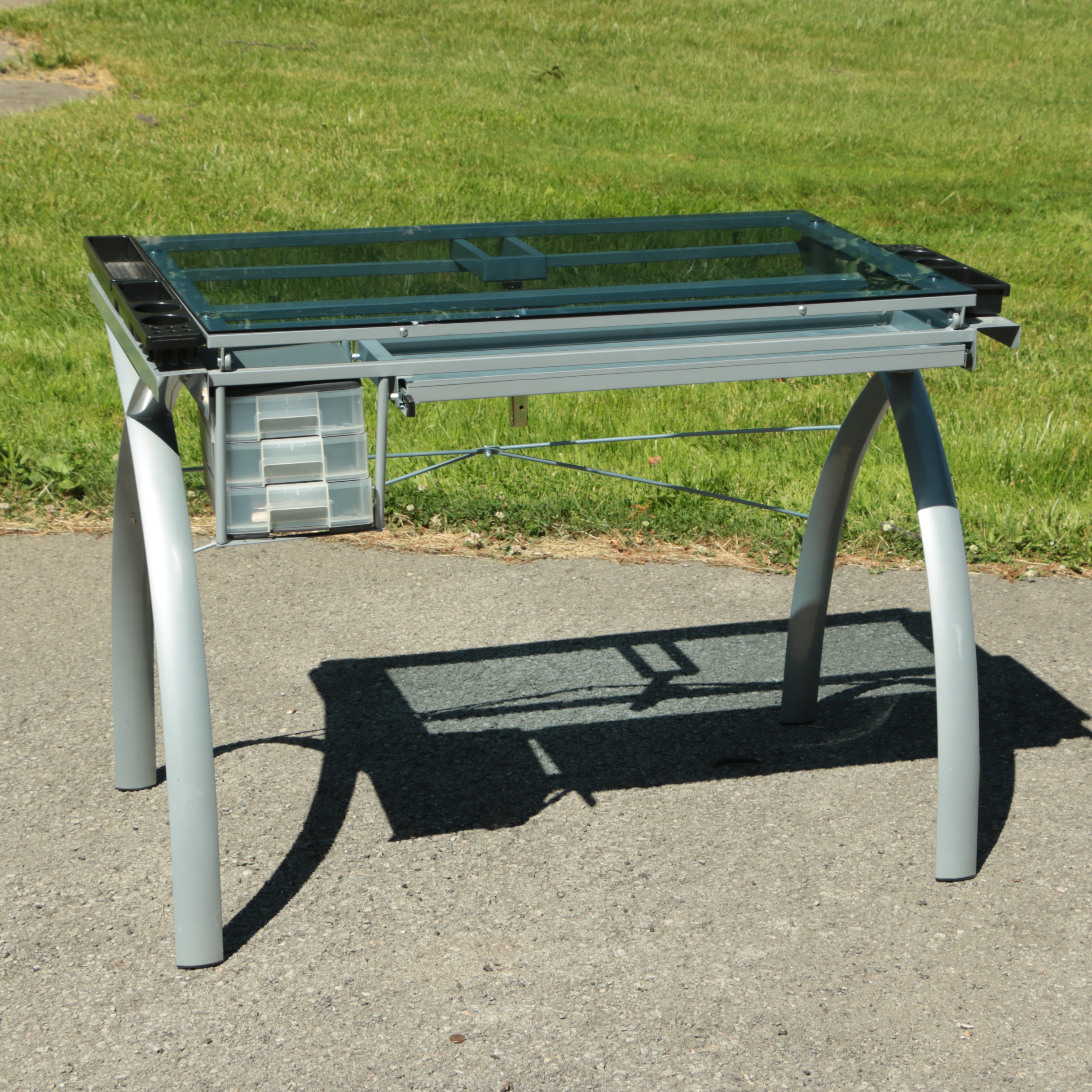 Glass Top Drafting Table