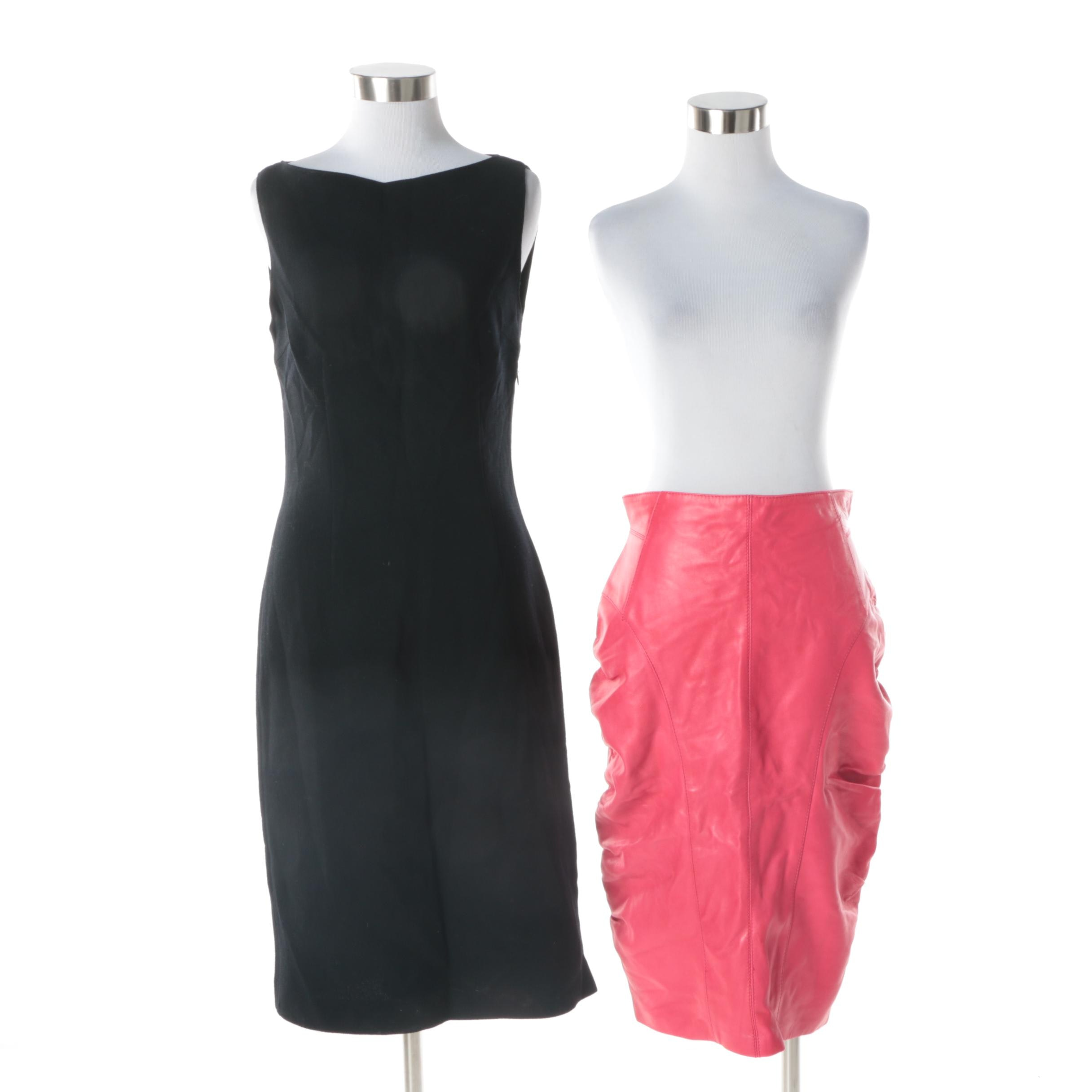 Luca Luca Black Sleeveless Cocktail Dress and Pink Leather Skirt