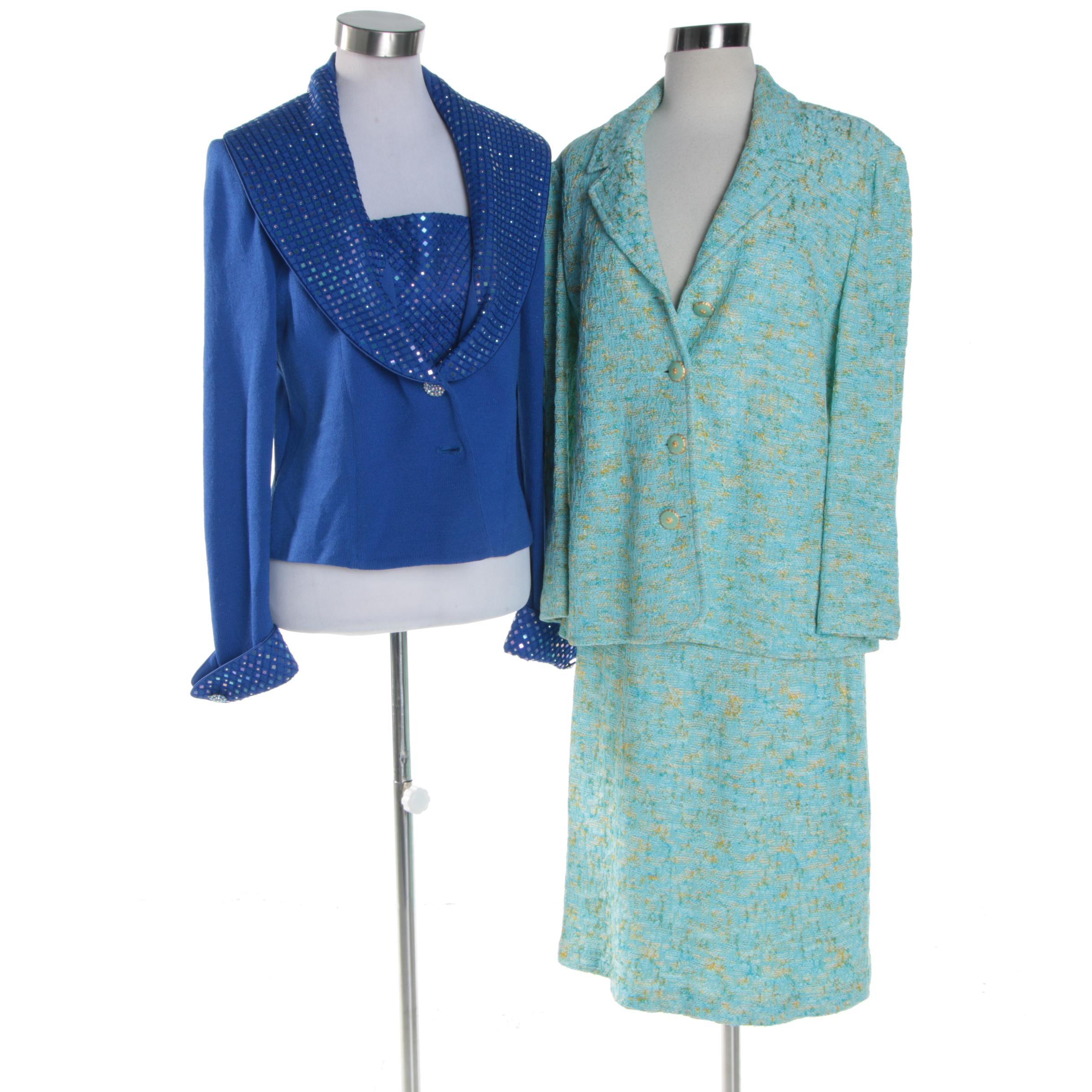 Women's St. John Collection Knit Skirt Suit and St. John Evening Blue Jacket