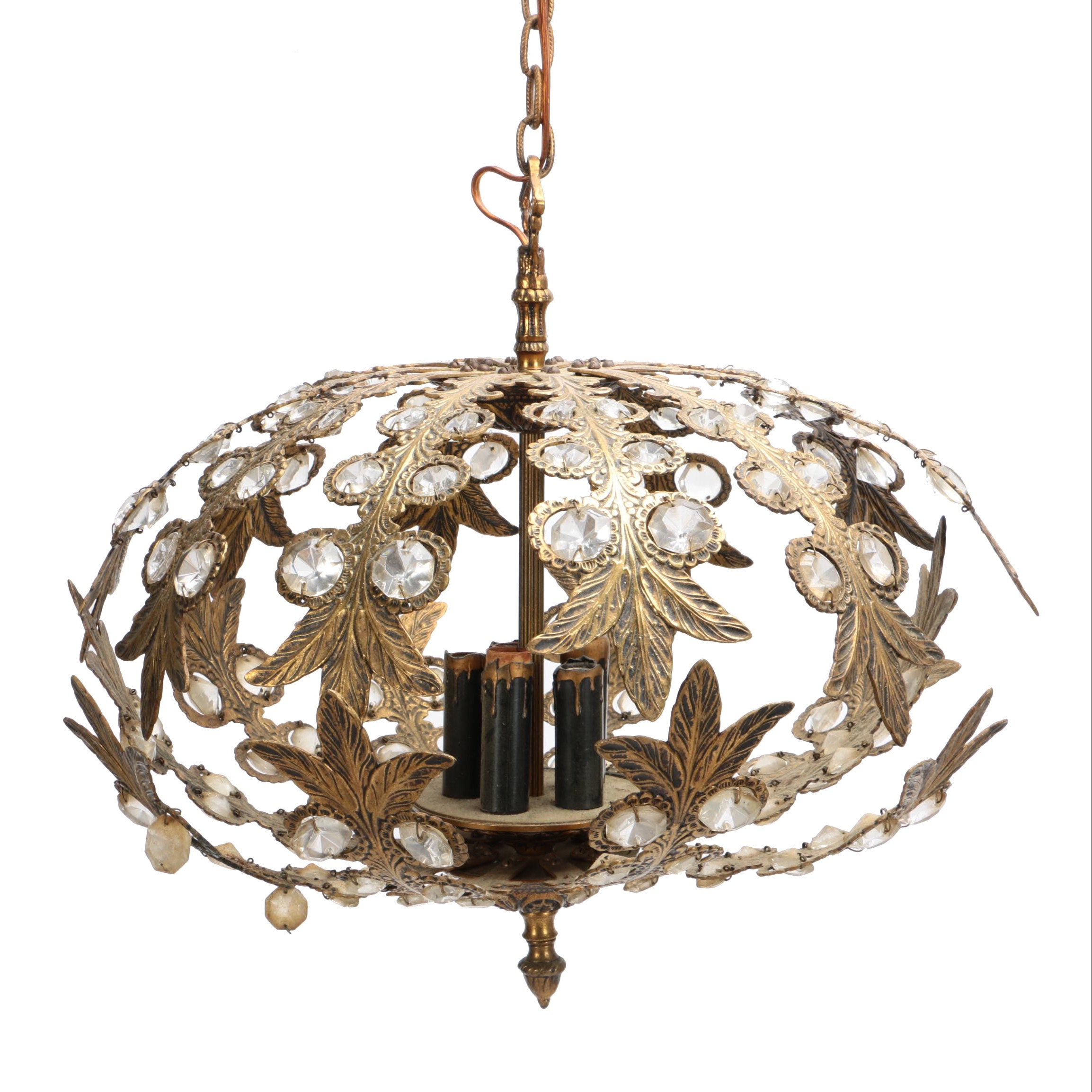 Vintage Open Work Brass and Crystal Scrolled Leaf Chandelier With Glass Accents