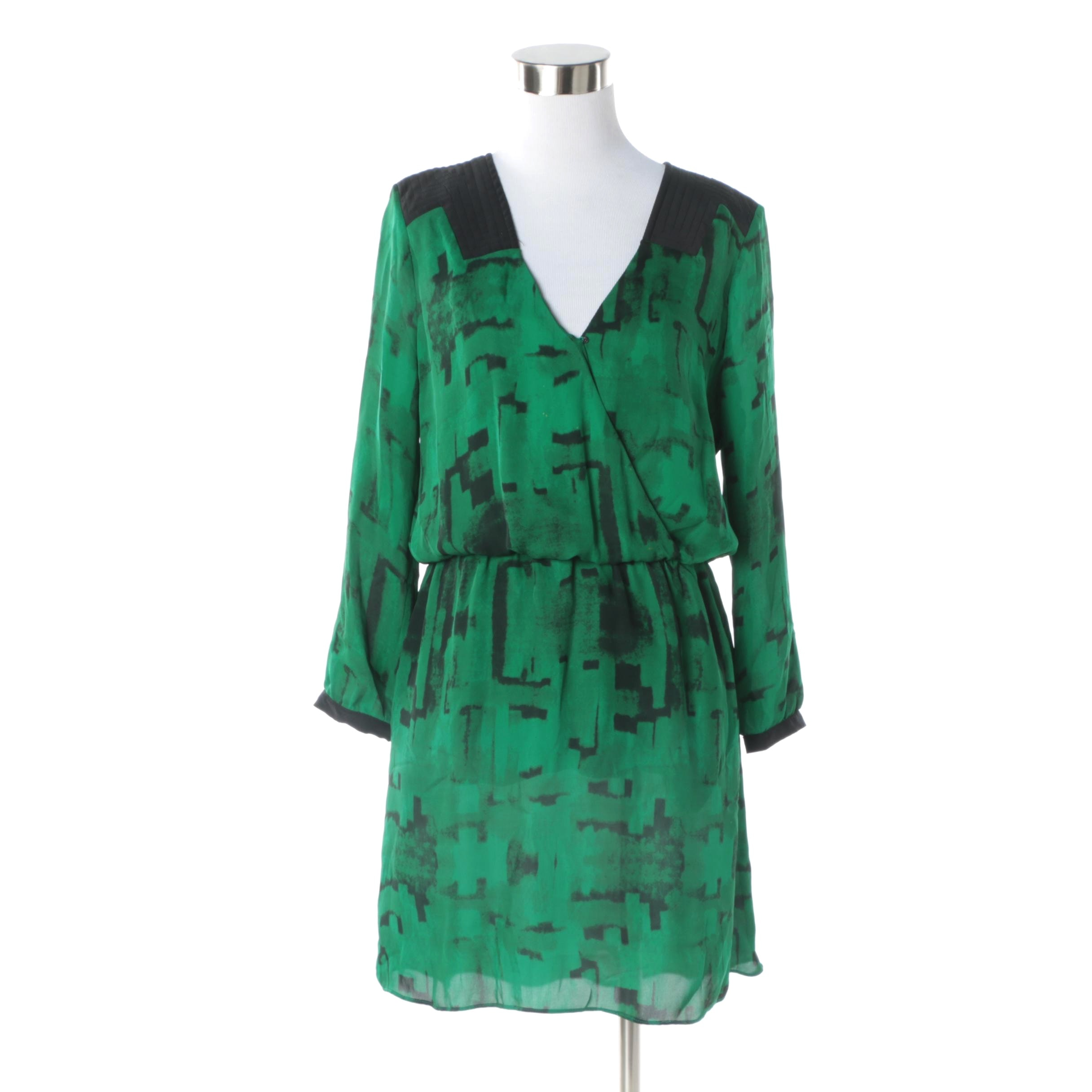 Women's Vintage Parker for Barneys New York Green and Black Silk Dress