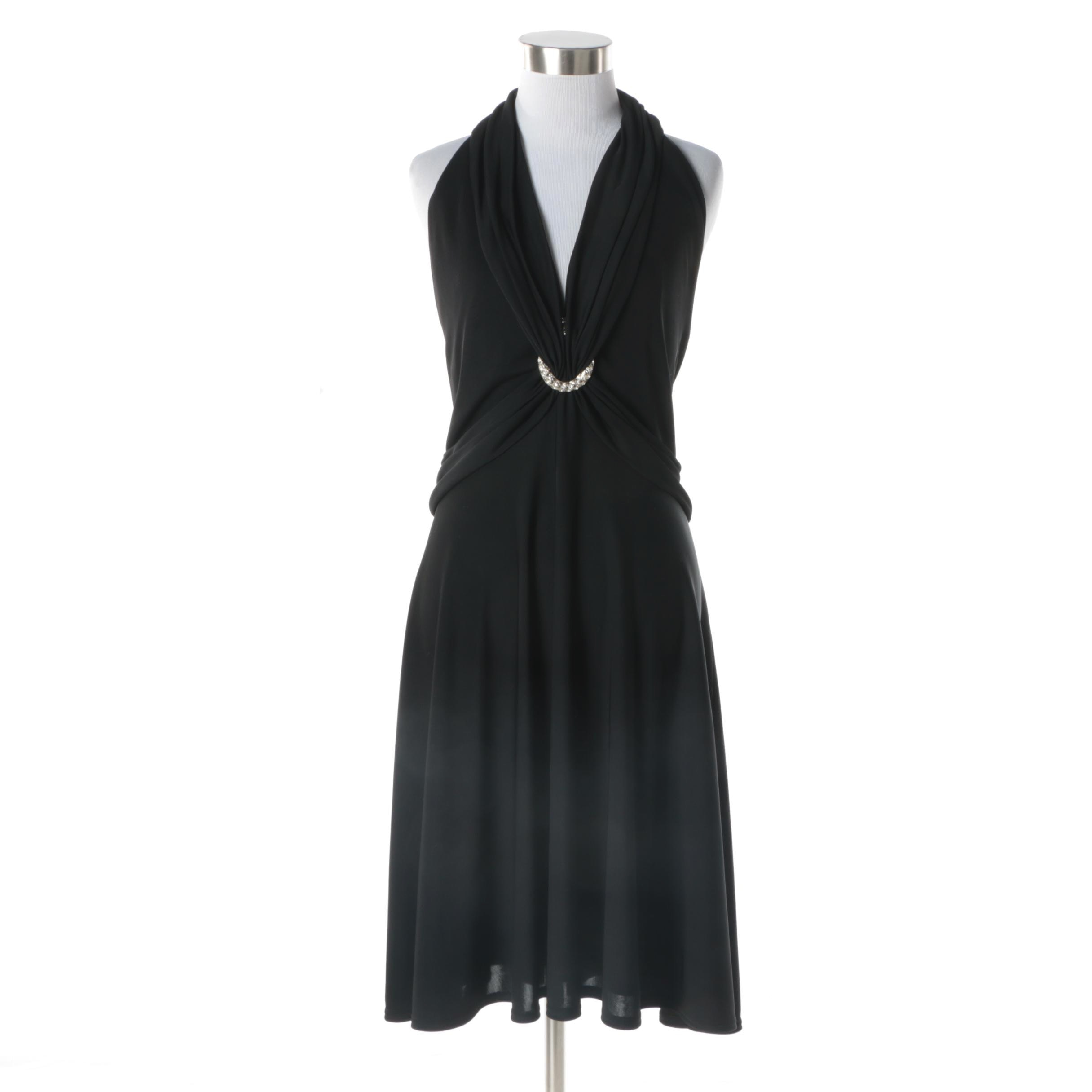 Tadashi Black Halter Style Sleeveless Cocktail Dress with Rhinestone Detail