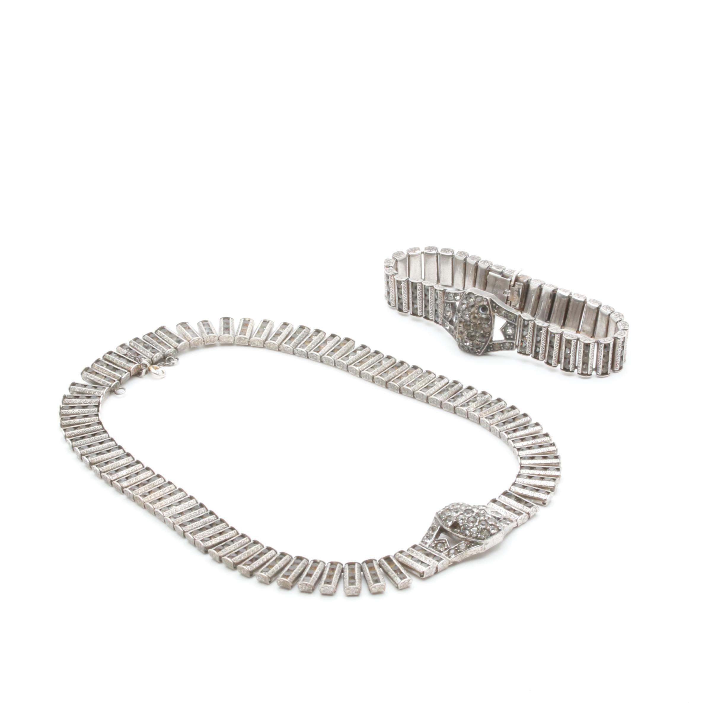 Catamor Art Deco Sterling Silver Glass Matching Bracelet and Necklace