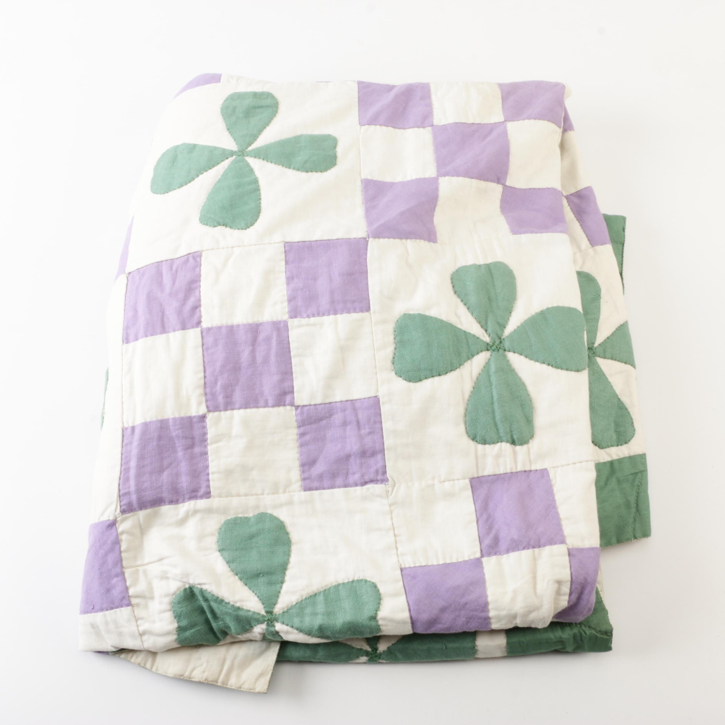 "Vintage Handmade ""Four Leaf Clover Nine Patch"" Quilt"