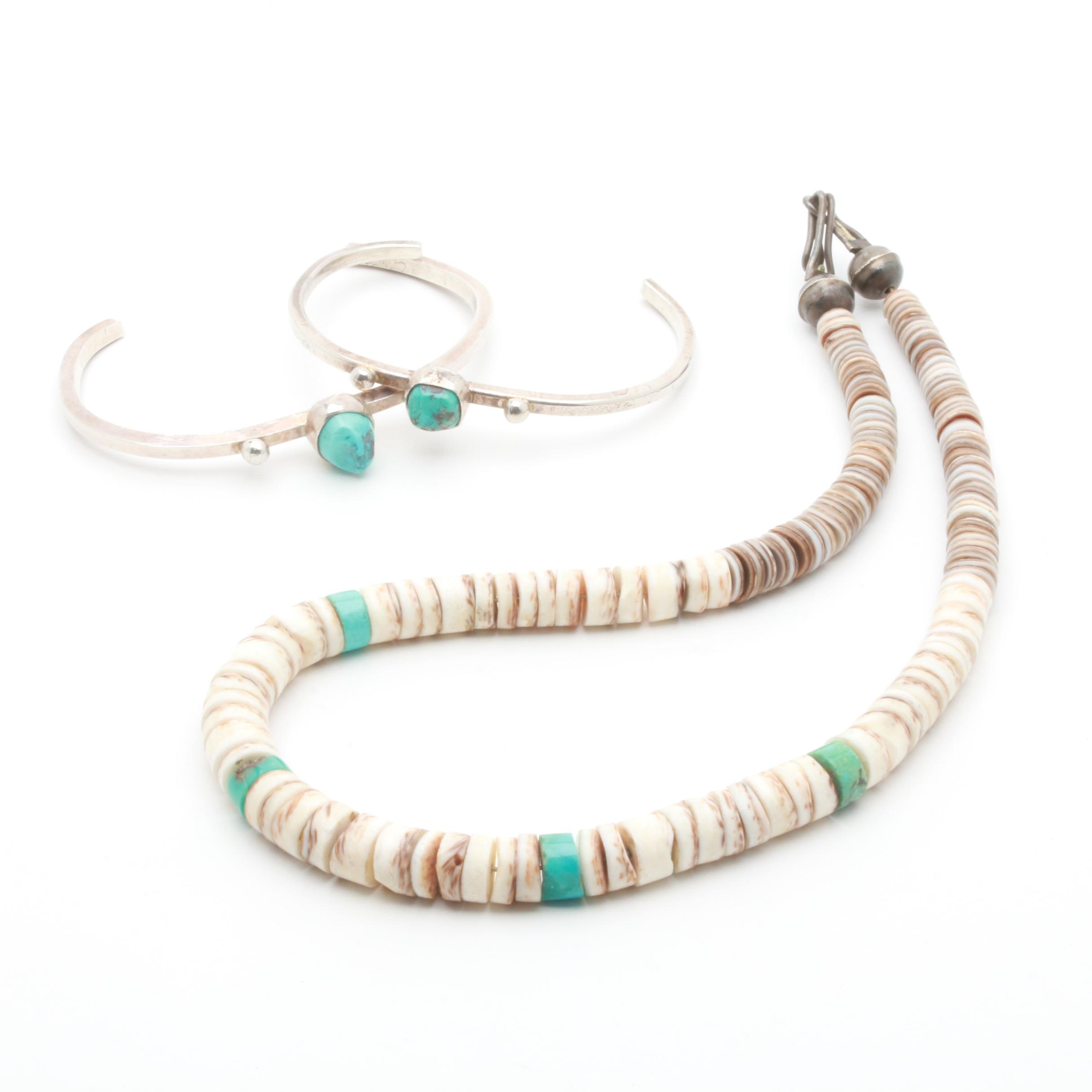 Sterling Silver Turquoise and Shell Jewelry Including Cuffs and a Necklace