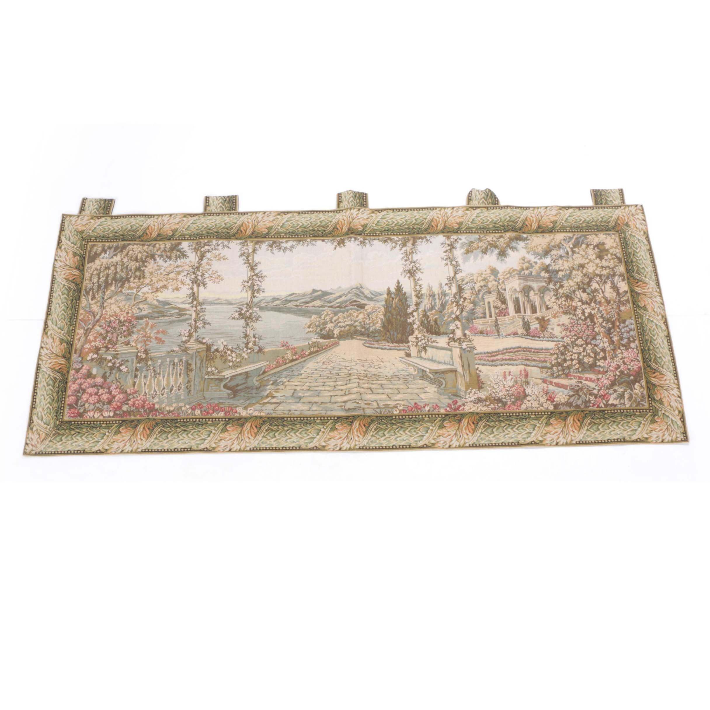 Hanging Wall Tapestry of a Coastal Villa Garden