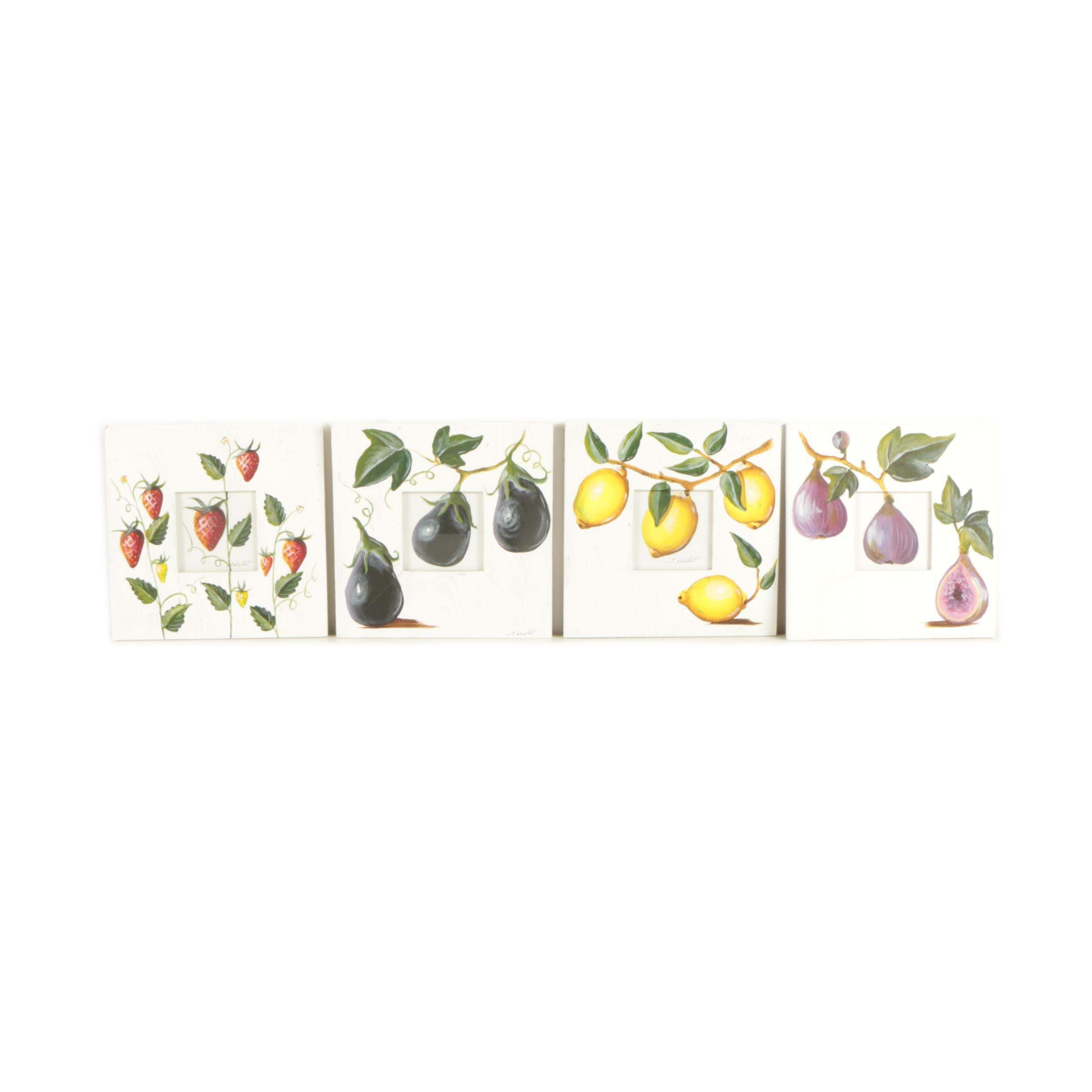 Collection of Sophie Noellet Acrylic Paintings of Fruits and Vegetables