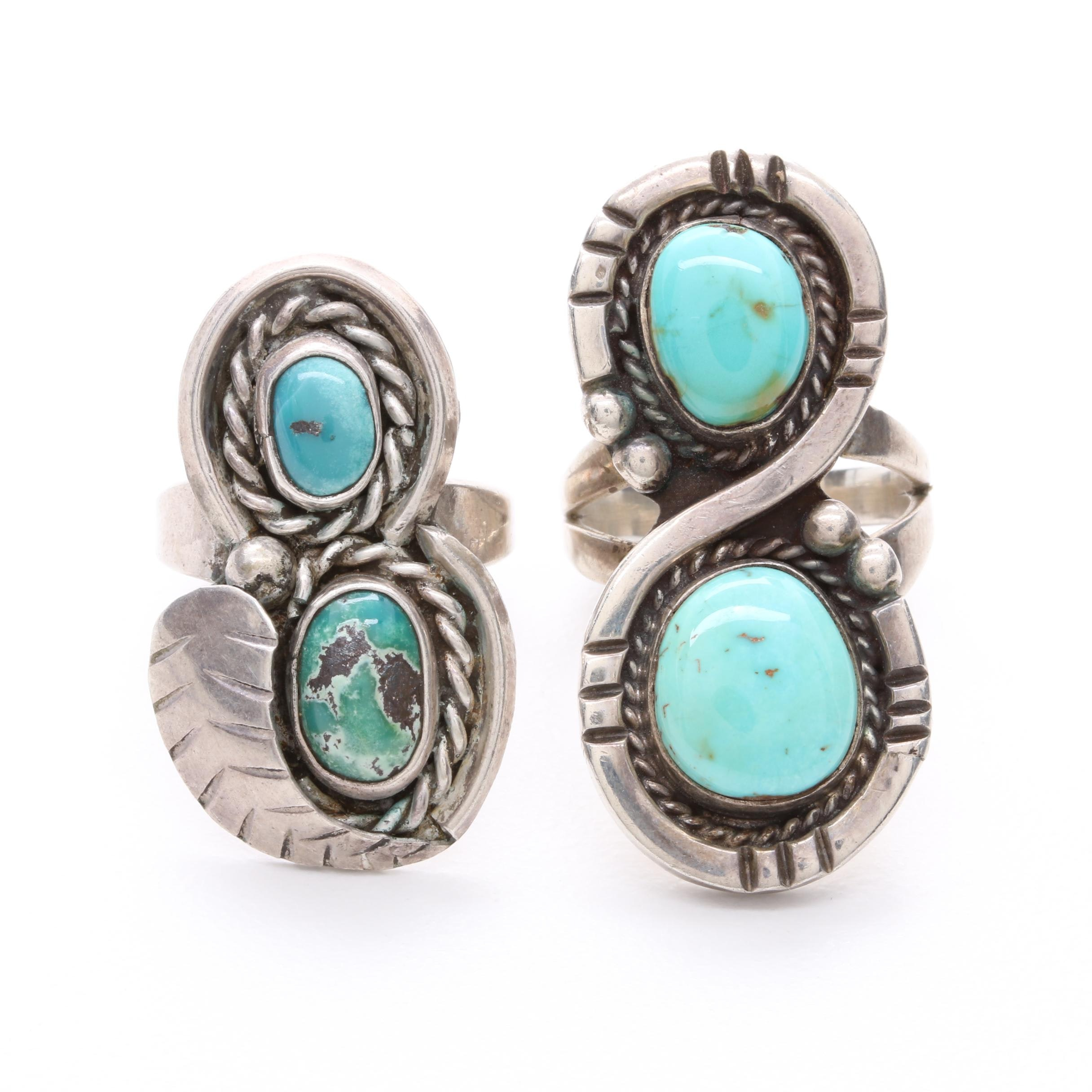 Southwestern Style Sterling Silver Turquoise Ring Selection