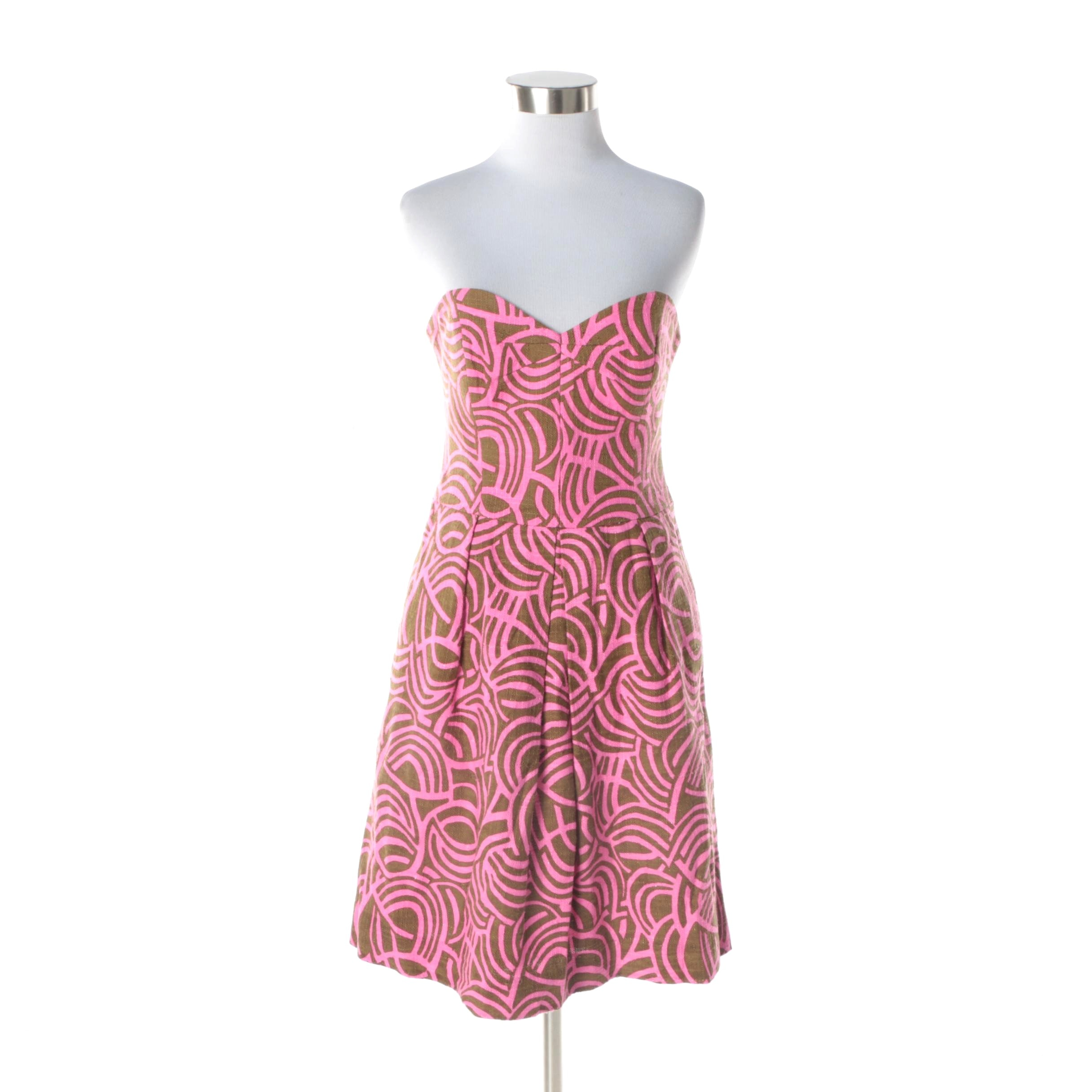 Milly of New York Pink and Brown Abstract Print Strapless Dress