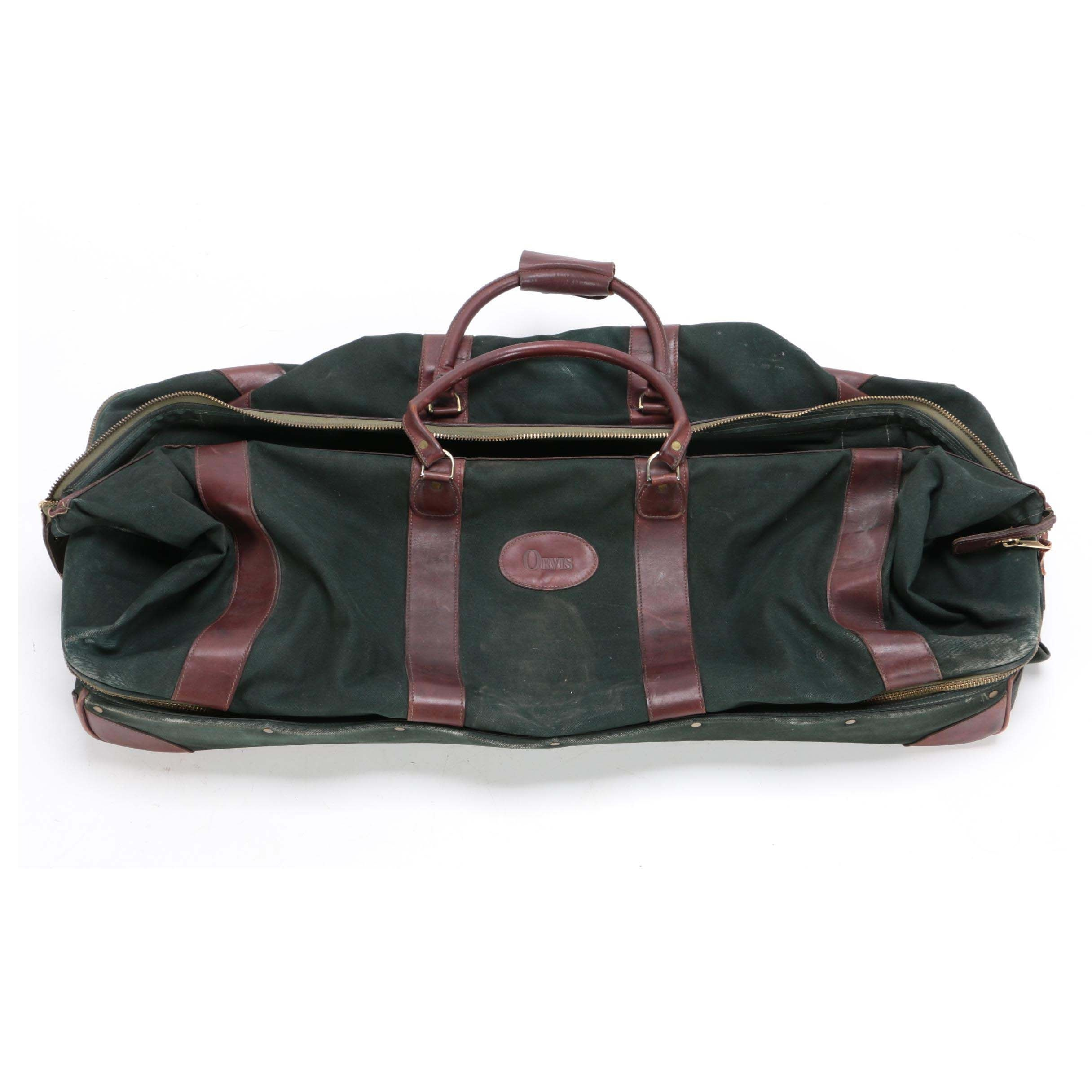 Orvis Battenkill Rolling Magnum Green Canvas and Brown Leather Duffel Bag