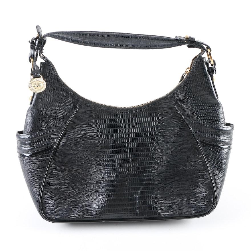 Brahmin Embossed Black Leather Handbag   EBTH 77f31fe7be