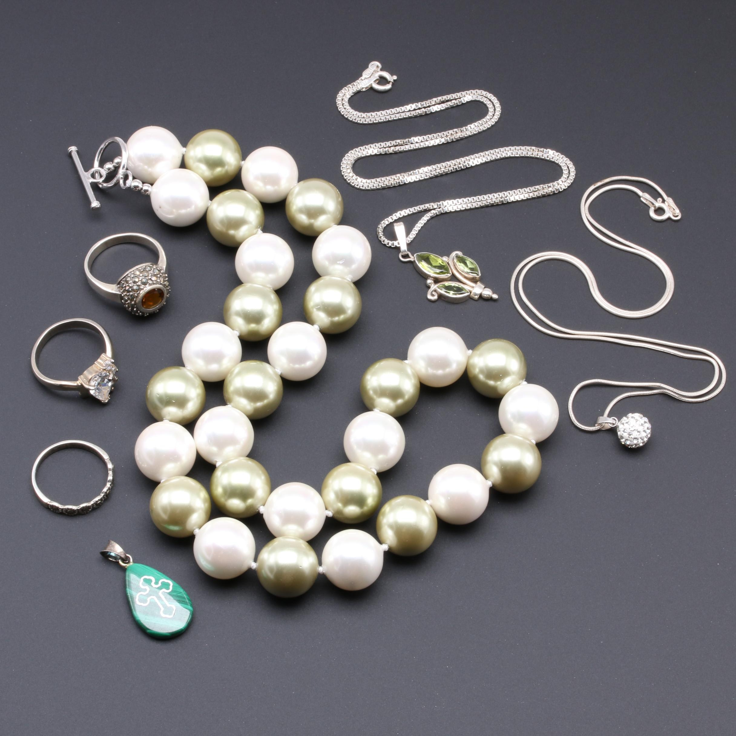 Sterling Silver Necklace and Ring Selection Including Malachite and Peridot