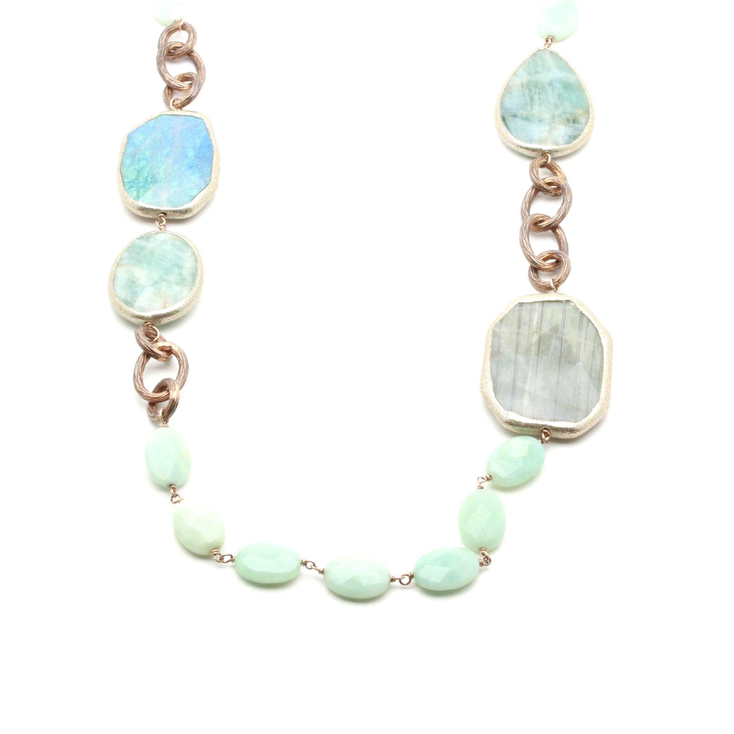 Estrosia Sterling Silver Aquamarine and Labradorite Necklace