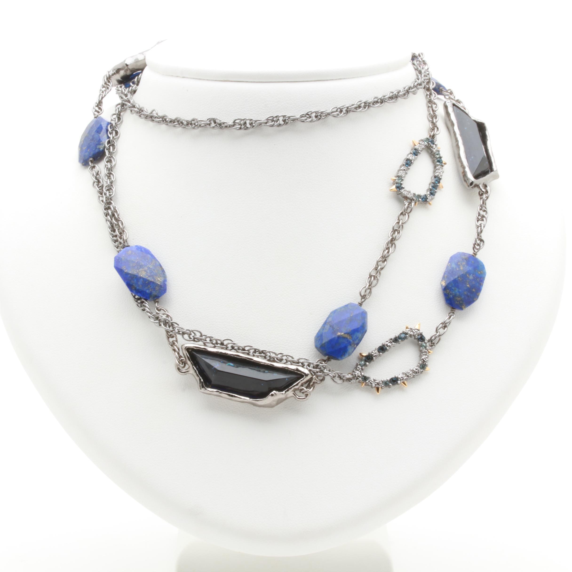 Alexis Bittar Gunmetal Tone Lapis Lazuli and Glass Necklace
