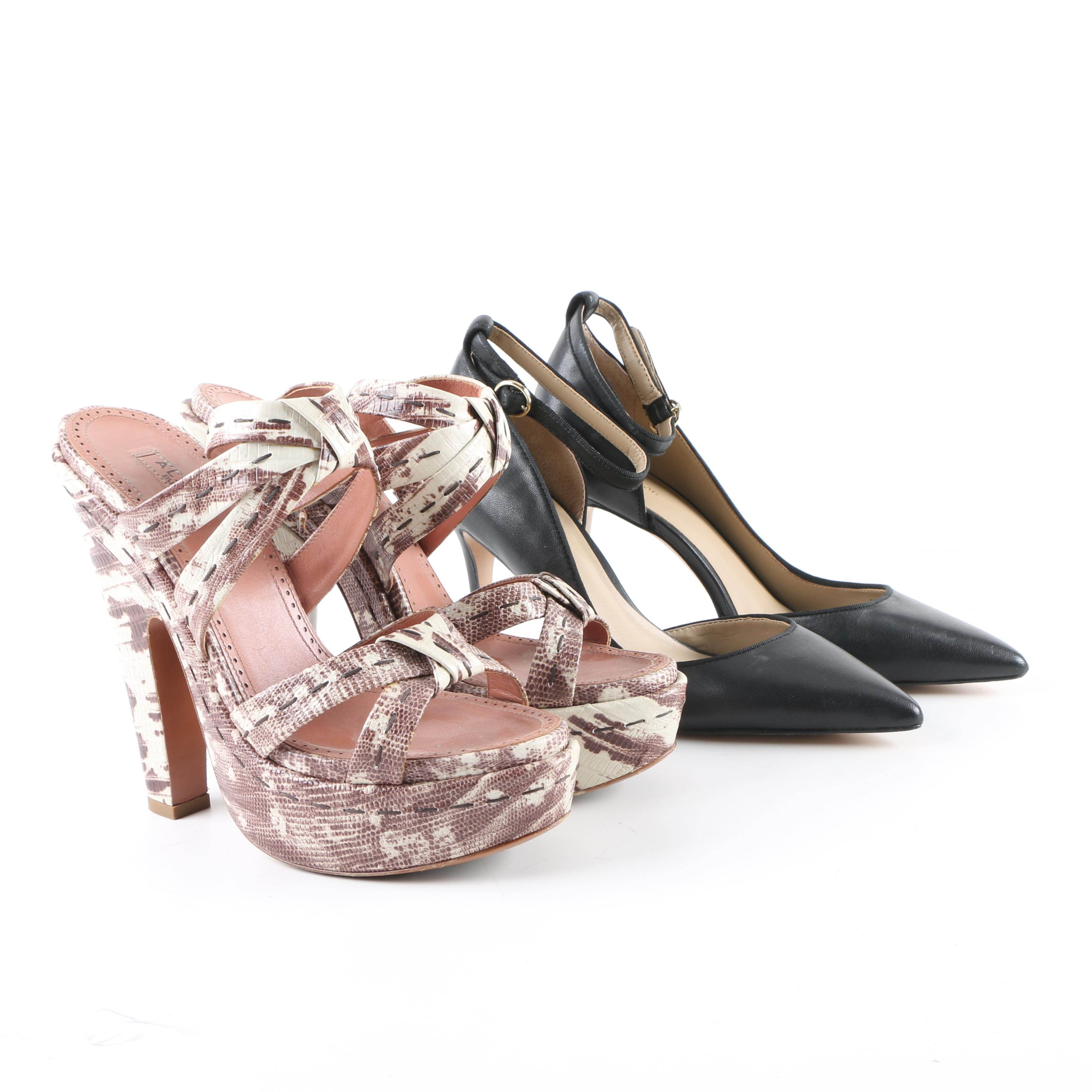 Alaïa of Paris and Ann Taylor Leather High-Heeled Shoes