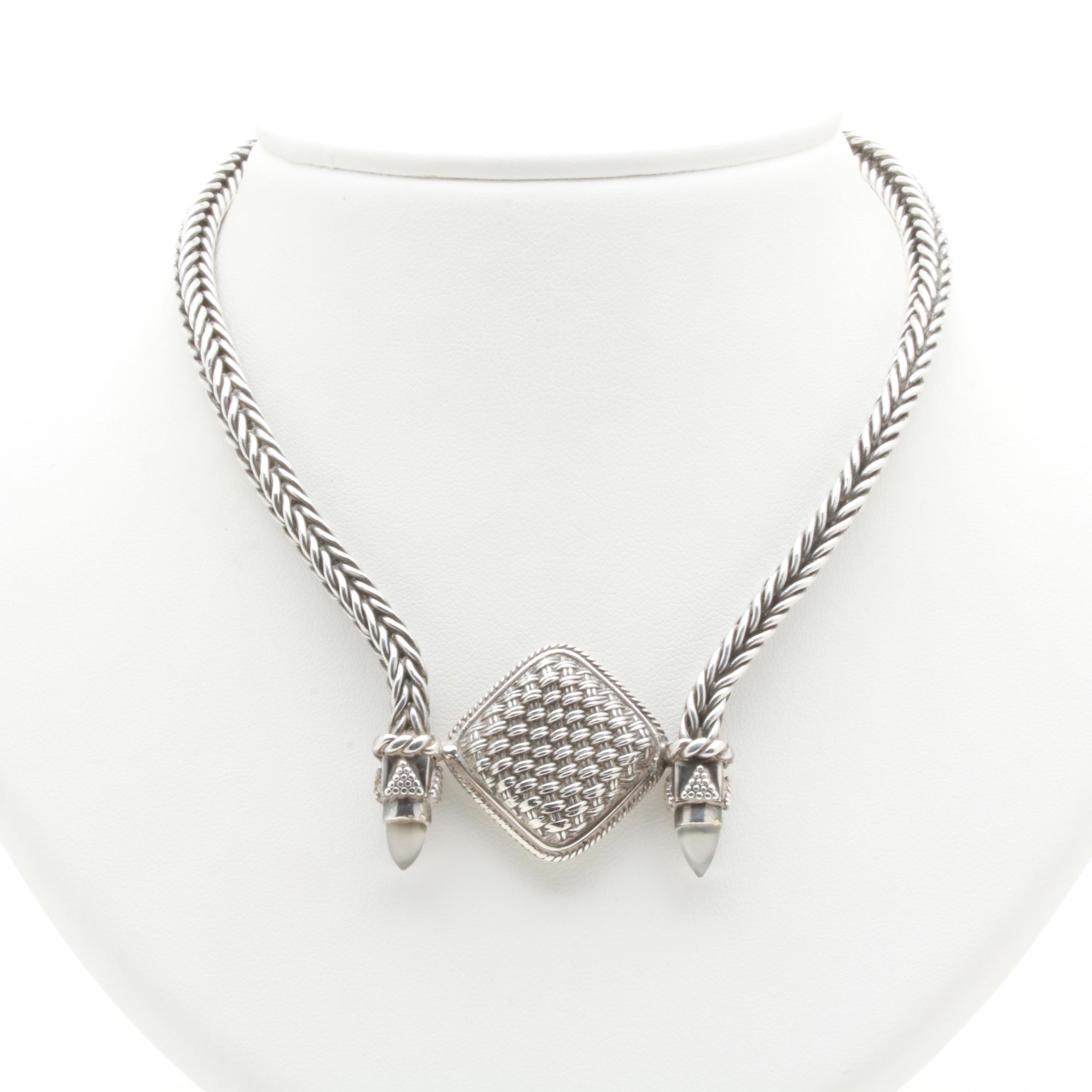 Lori Bonn Sterling Silver Textured Pendant Necklace with Labradorite