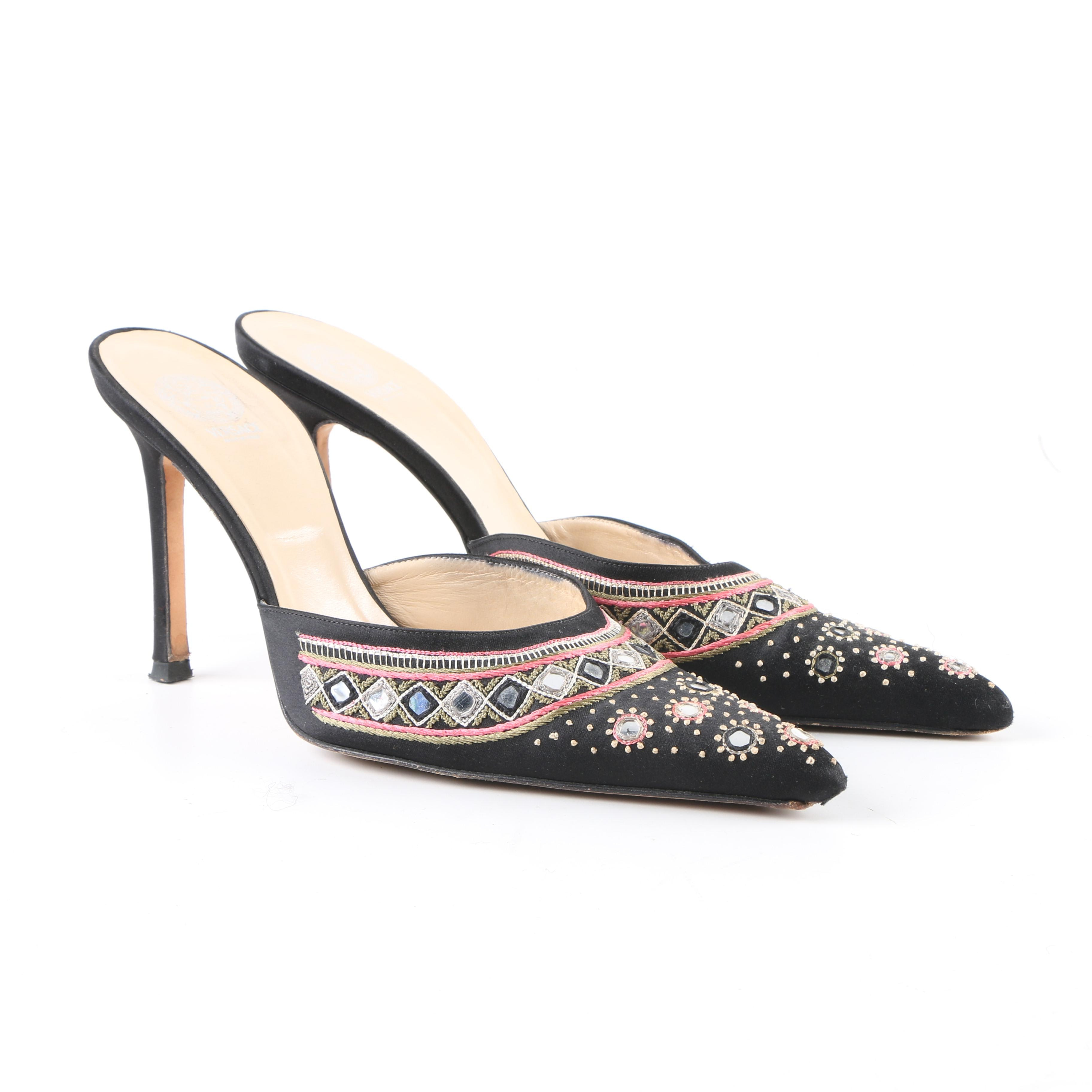 Women's Versace Black Fabric High-Heeled Mules with Embroidered Accents