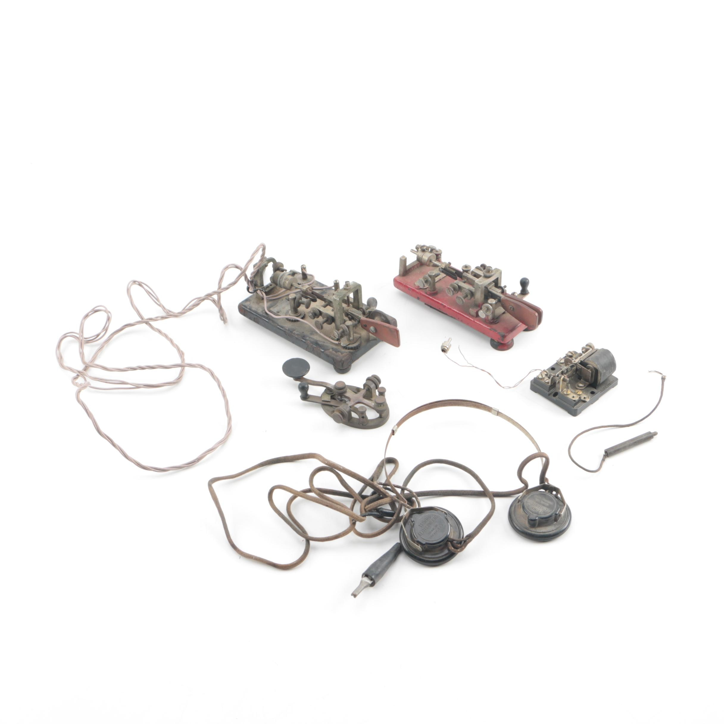 Antique Vibroplex and Other Telegraph Keys With Trimm Featherweight Headphones