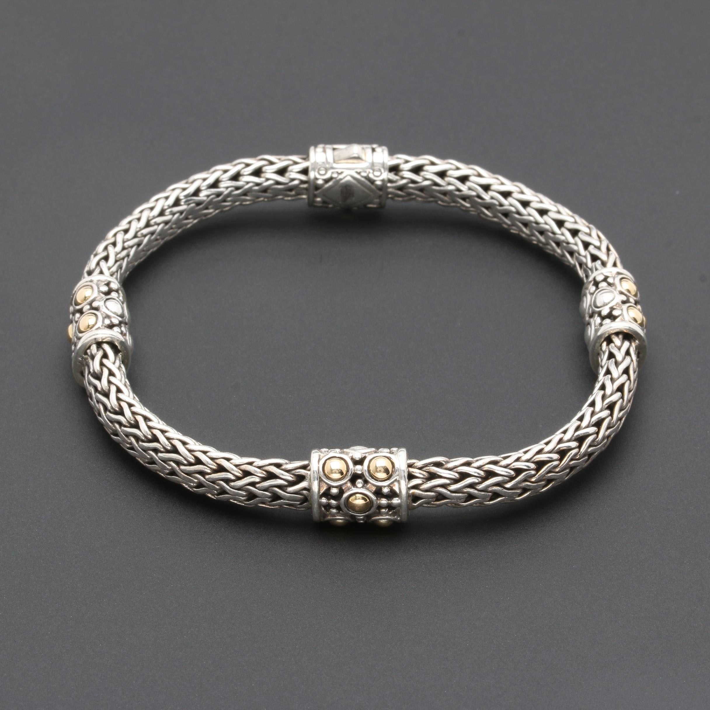 """John Hardy Sterling Silver and 18K Yellow Gold """"Dot Collection"""" Bracelet"""