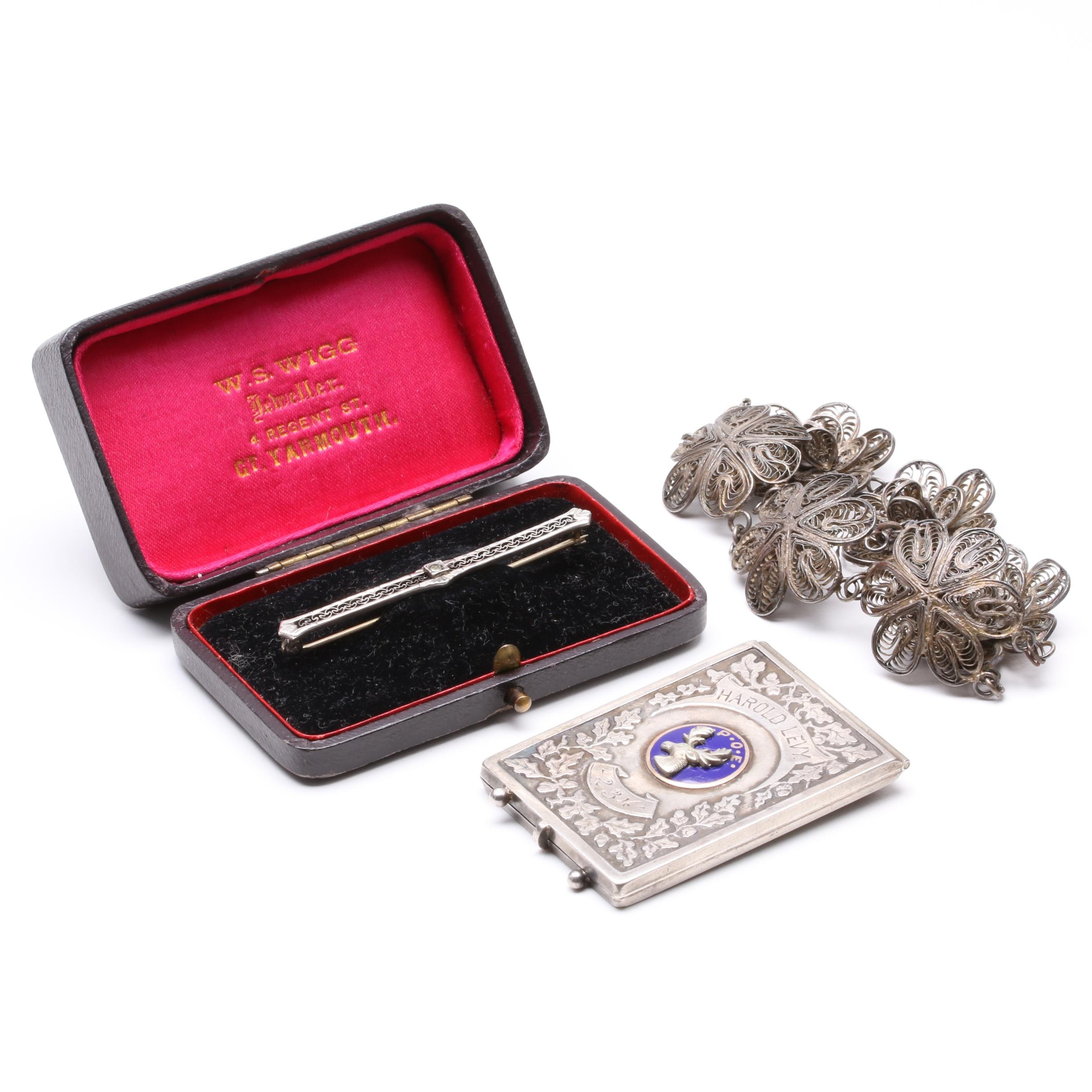 Sterling Silver Jewelry Including Elks Lodge Card Case, Brooch, and Bracelet