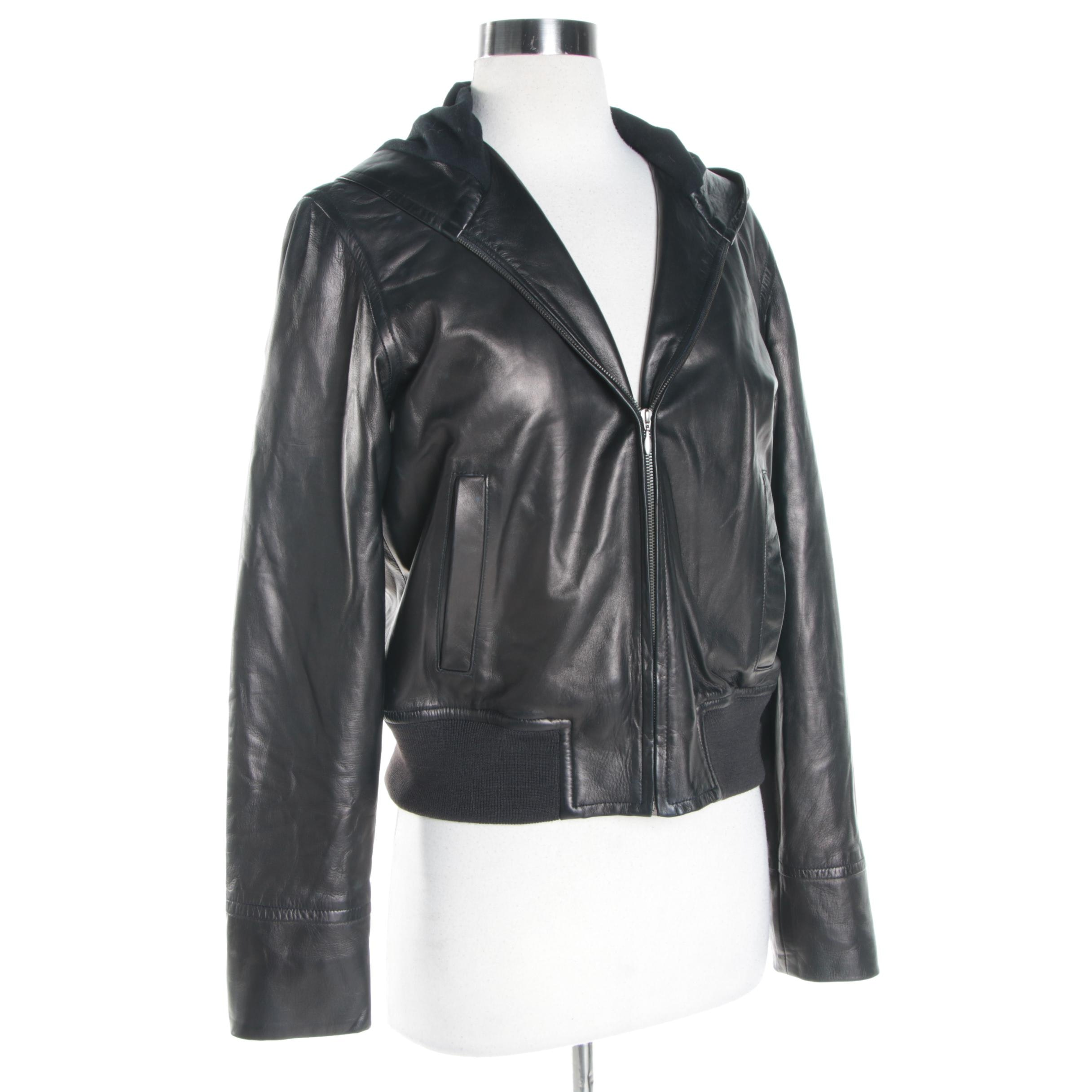 Women's RALPH Ralph Lauren Leather Hooded Jacket