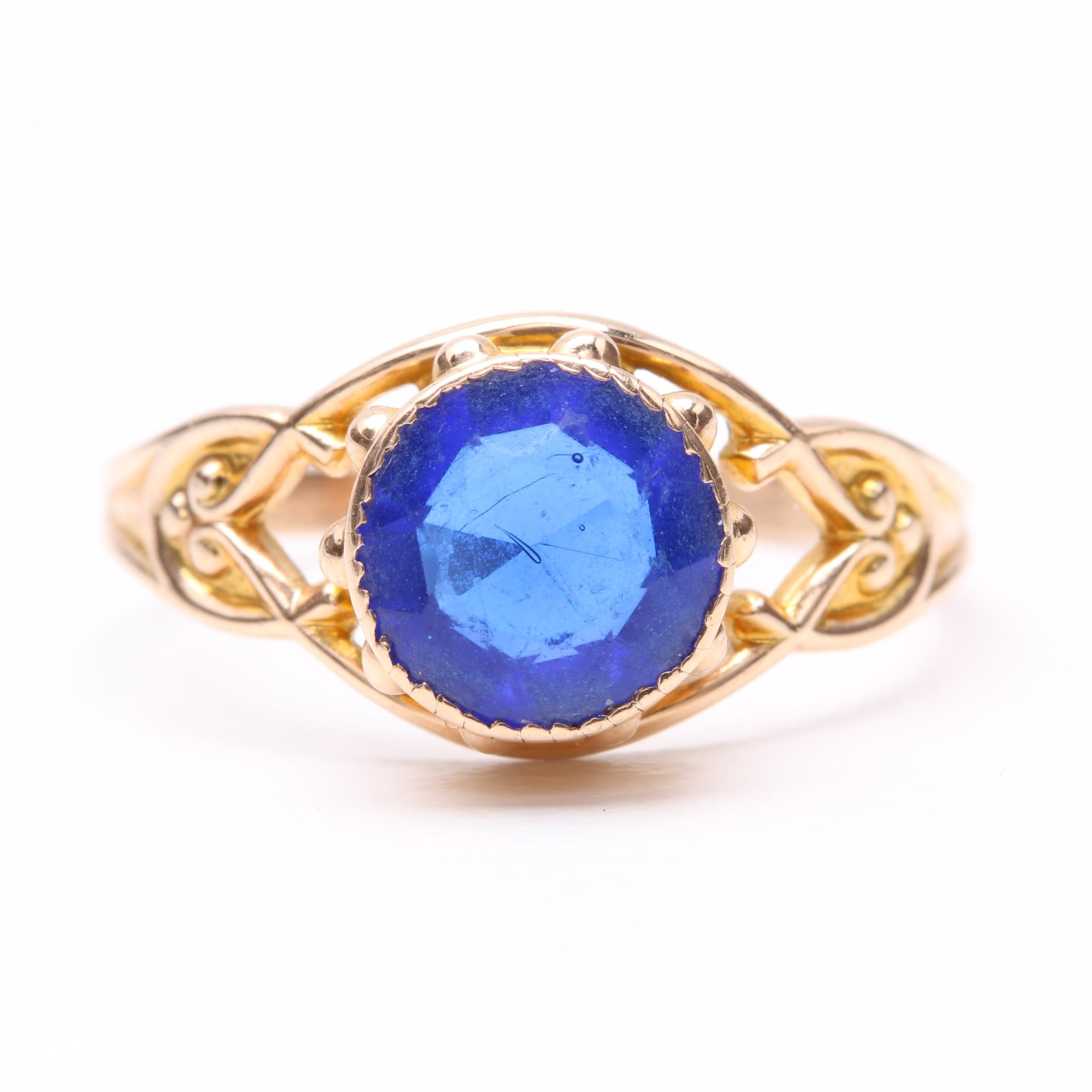 10K Yellow Gold Blue Glass Ring